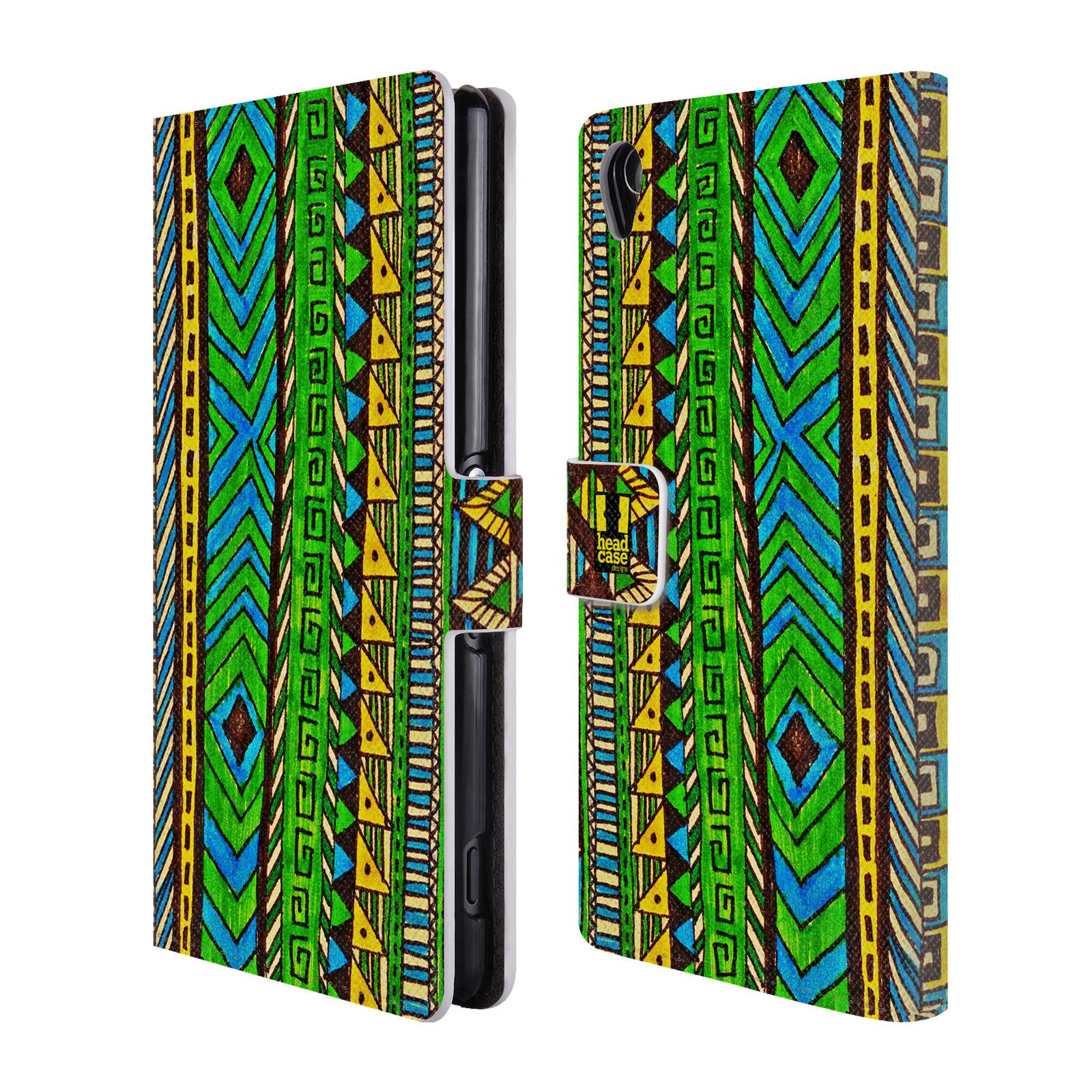HEAD CASE Flipové pouzdro pro mobil SONY XPERIA Z3 Barevná aztécká čmáranice zelená