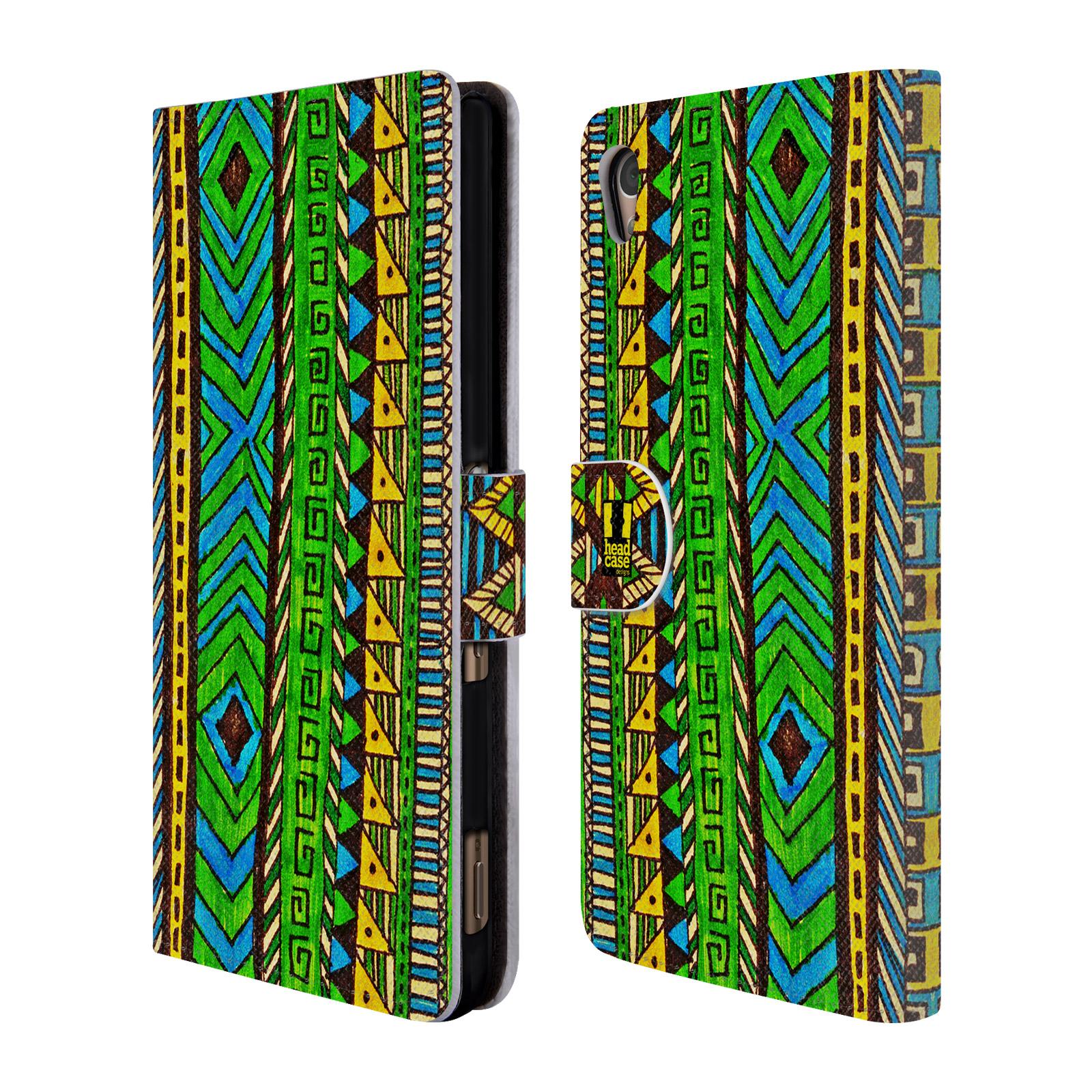 HEAD CASE Flipové pouzdro pro mobil SONY XPERIA Z3+ (PLUS) Barevná aztécká čmáranice zelená