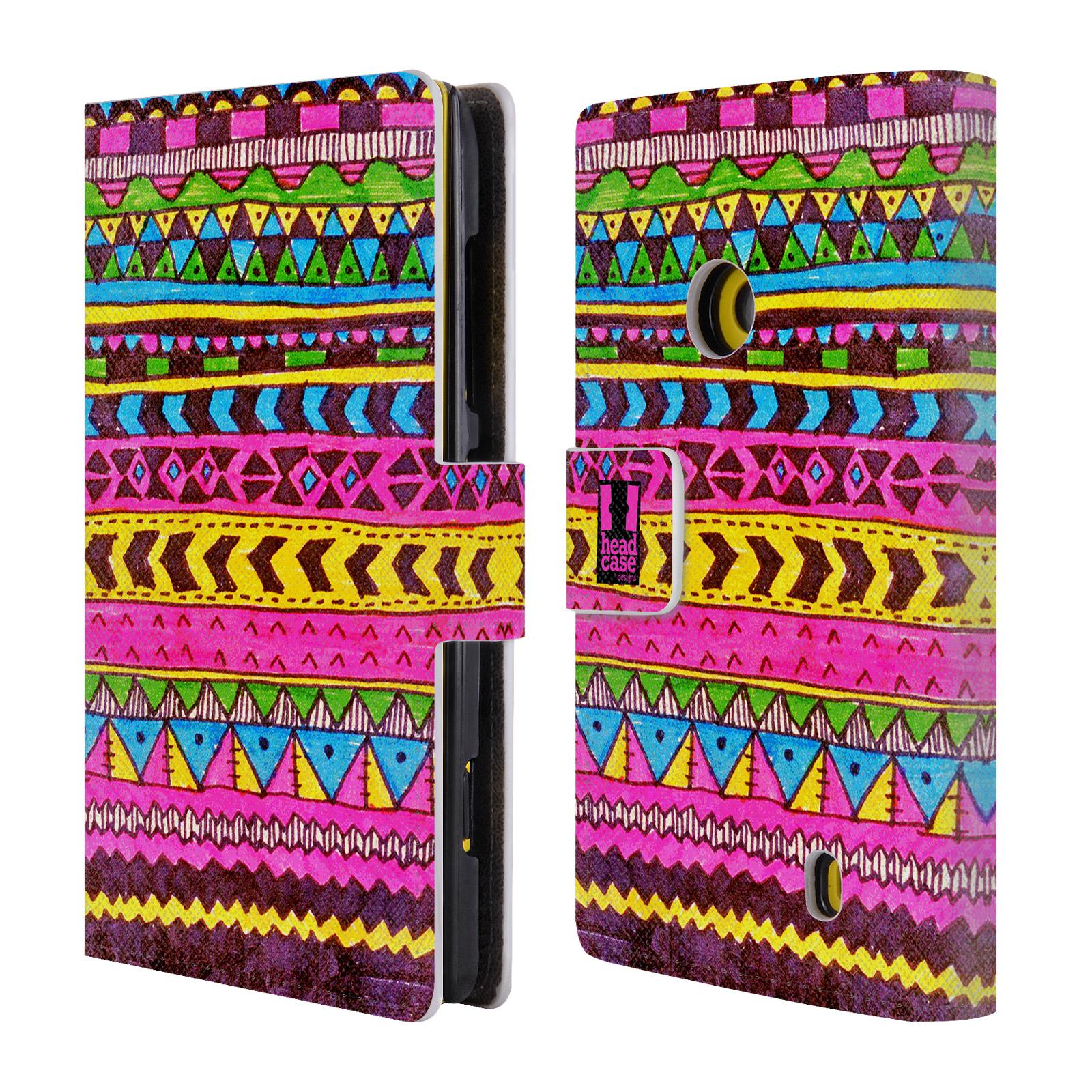 HEAD CASE Flipové pouzdro pro mobil NOKIA LUMIA 520 / 525 Barevná aztécká čmáranice růžová