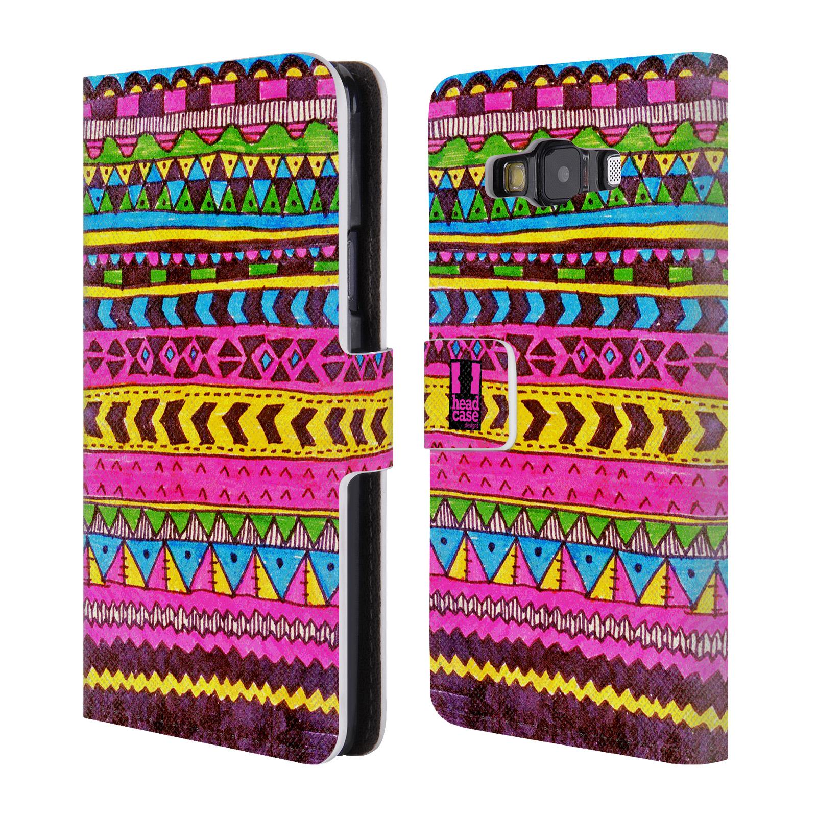 HEAD CASE Flipové pouzdro pro mobil Samsung Galaxy A3 Barevná aztécká čmáranice růžová