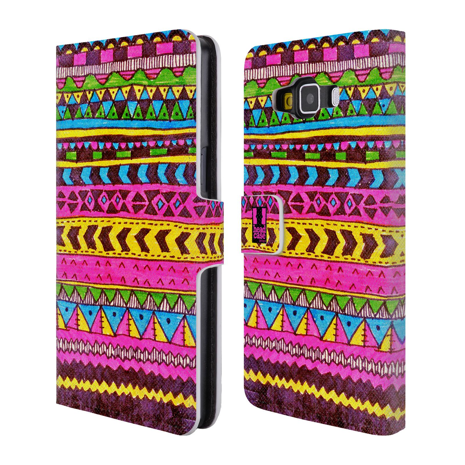 HEAD CASE Flipové pouzdro pro mobil Samsung Galaxy A5 Barevná aztécká čmáranice růžová