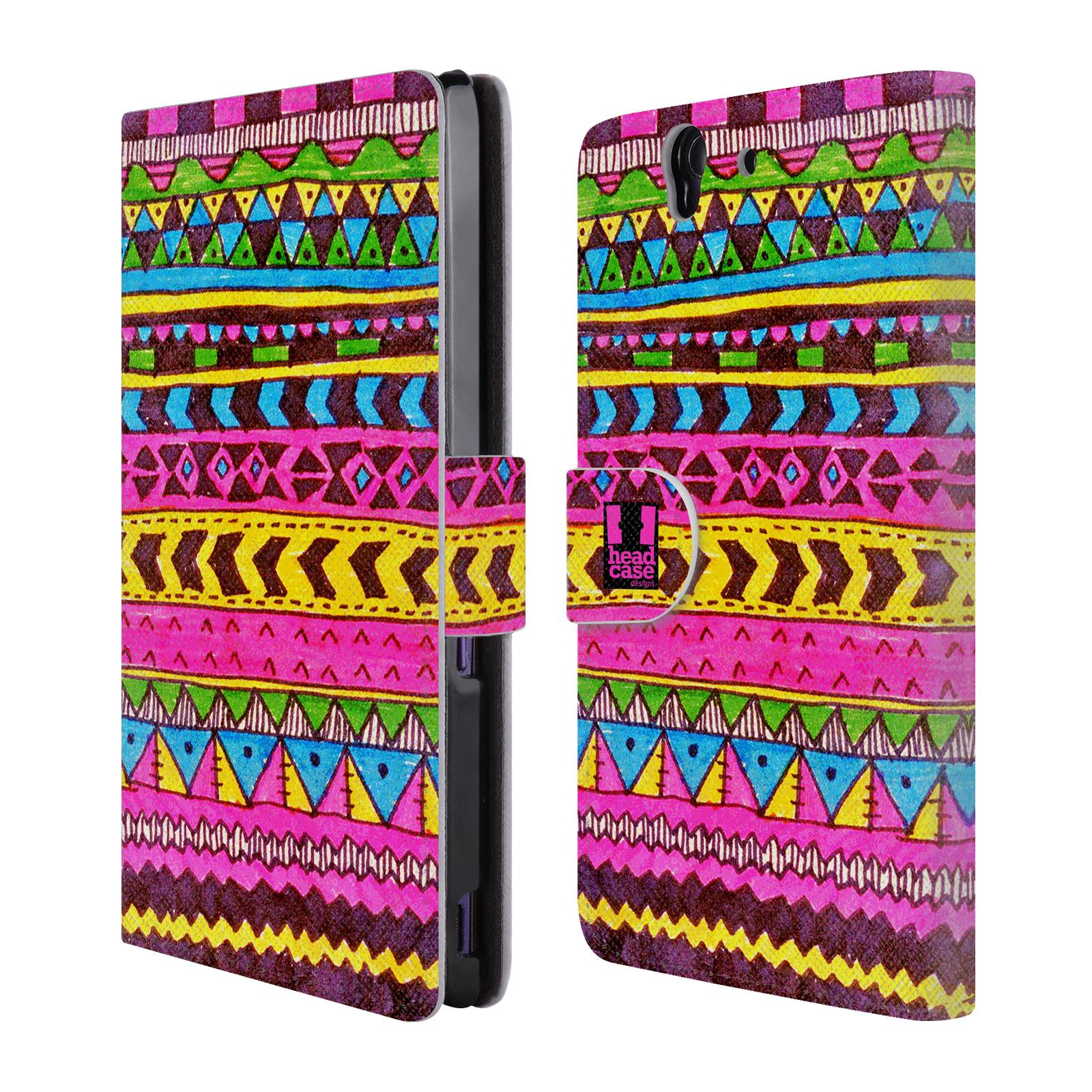 HEAD CASE Flipové pouzdro pro mobil SONY XPERIA Z (C6603) Barevná aztécká čmáranice růžová