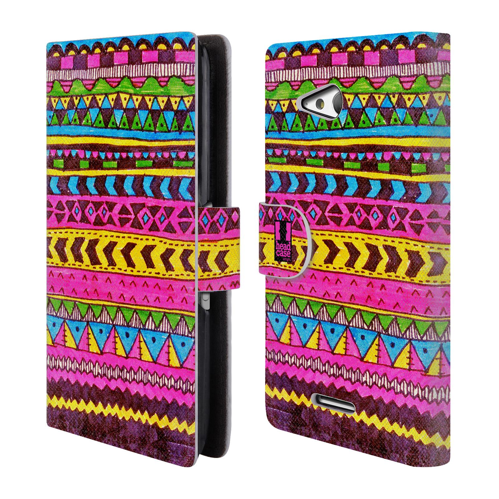 HEAD CASE Flipové pouzdro pro mobil SONY XPERIA E4g Barevná aztécká čmáranice růžová