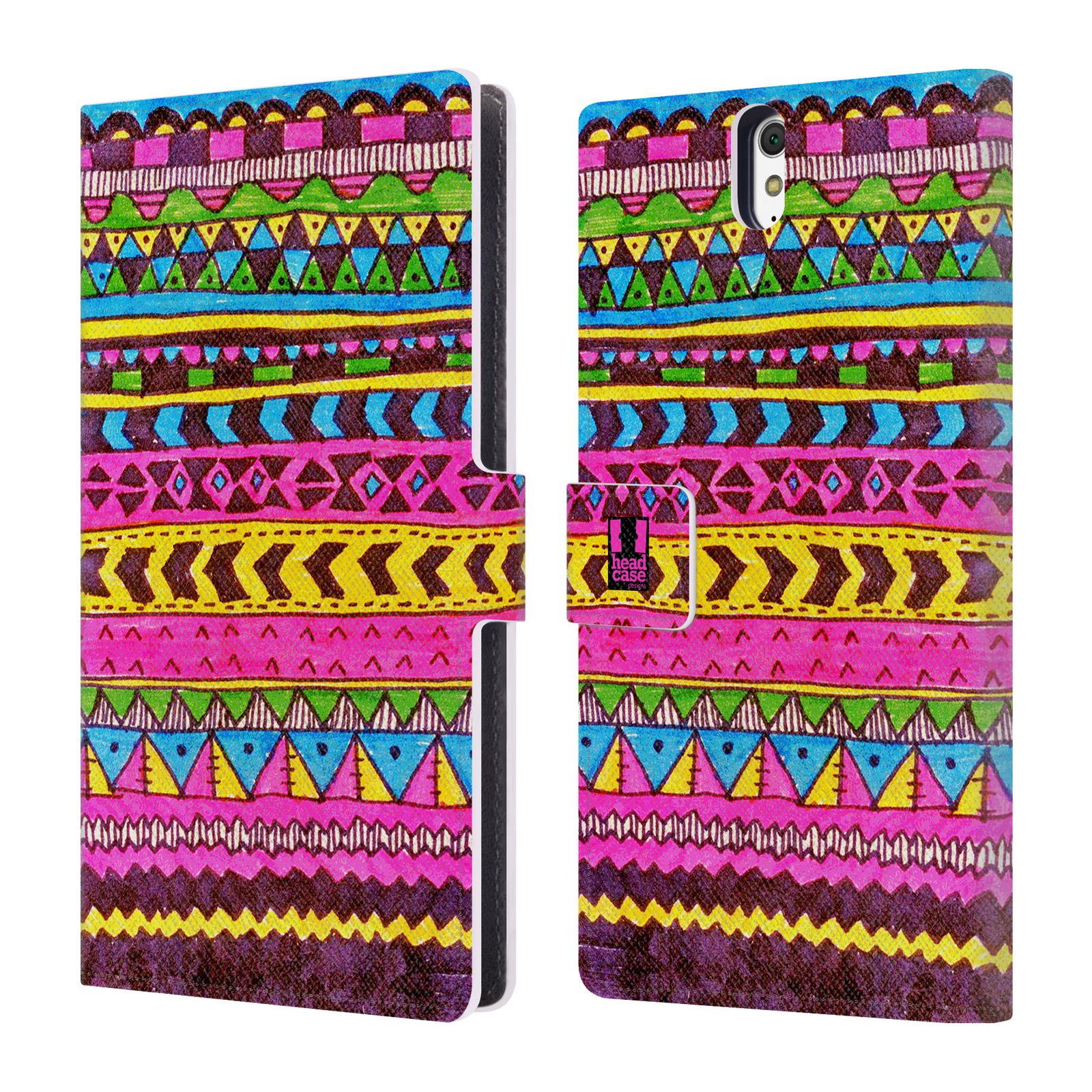 HEAD CASE Flipové pouzdro pro mobil SONY XPERIA C5 Ultra Barevná aztécká čmáranice růžová