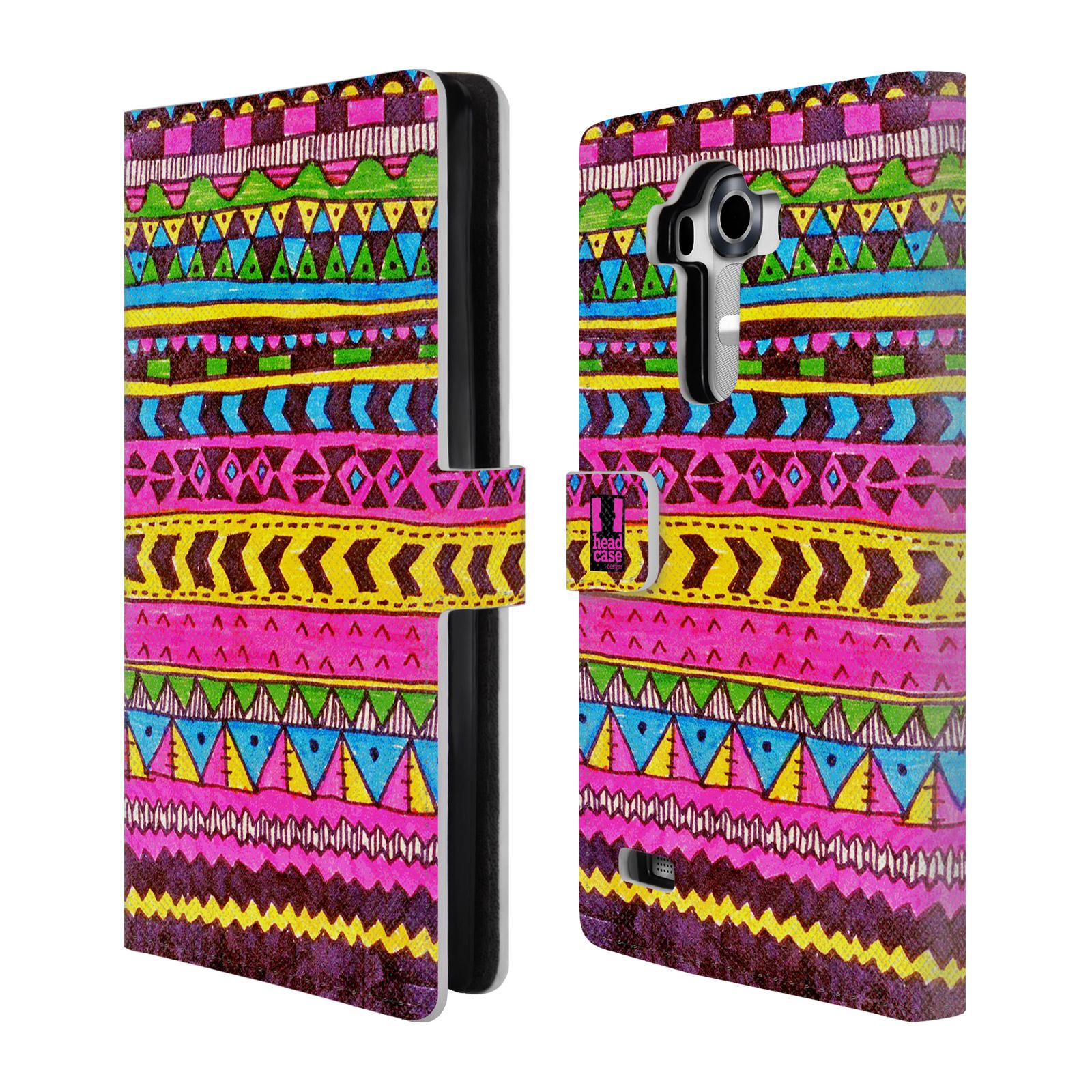HEAD CASE Flipové pouzdro pro mobil LG G4 (H815) Barevná aztécká čmáranice růžová