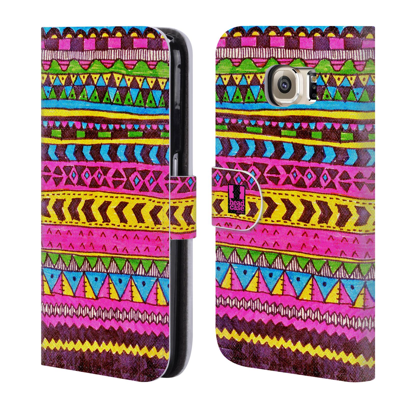 HEAD CASE Flipové pouzdro pro mobil Samsung Galaxy S6 (G9200) Barevná aztécká čmáranice růžová