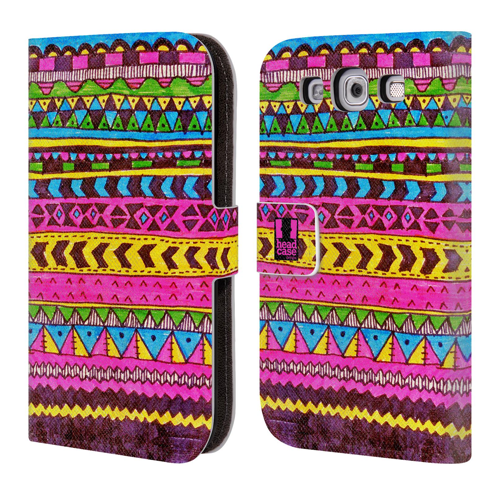 HEAD CASE Flipové pouzdro pro mobil Samsung Galaxy S3 Barevná aztécká čmáranice růžová