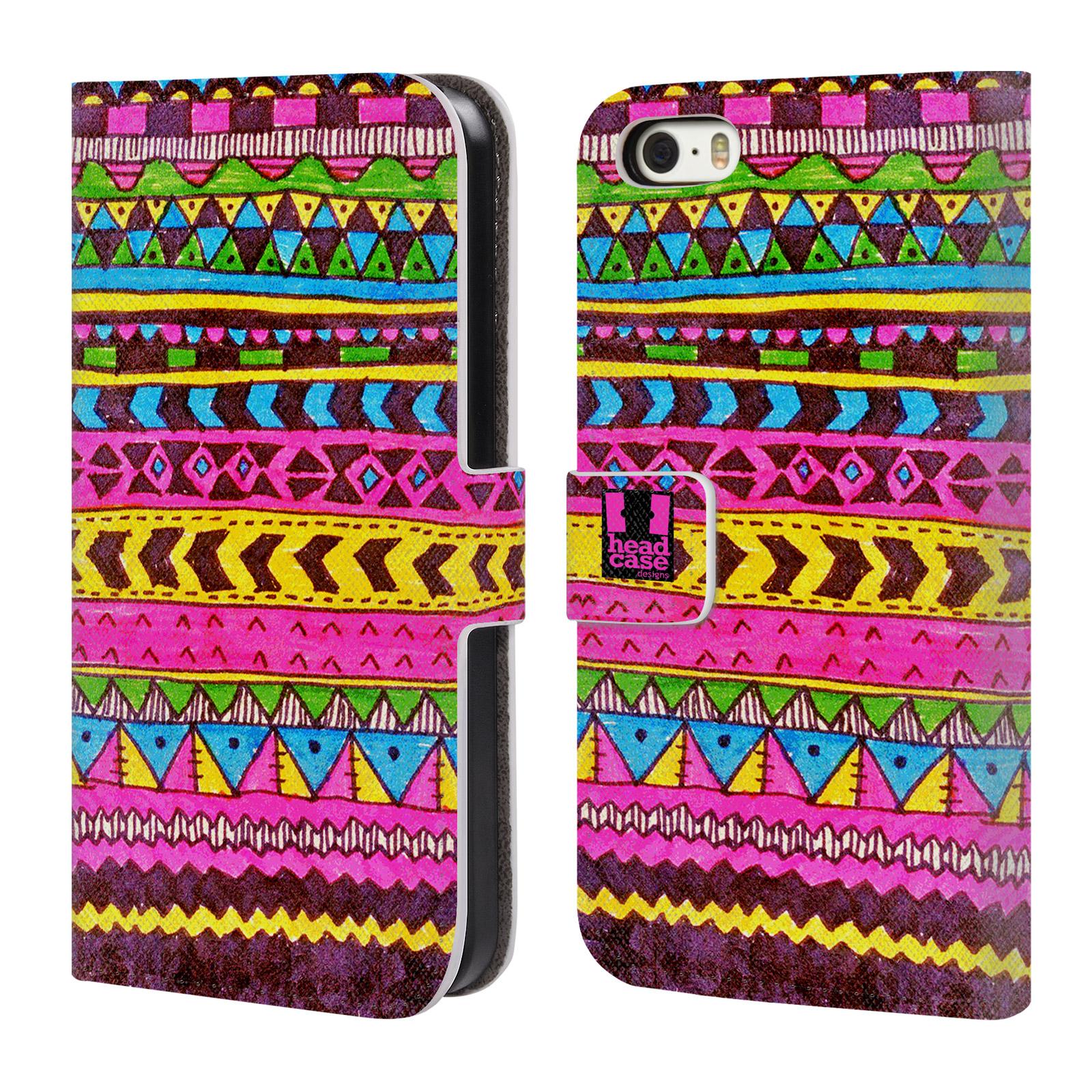 HEAD CASE Flipové pouzdro pro mobil Apple Iphone 5/5s Barevná aztécká čmáranice růžová