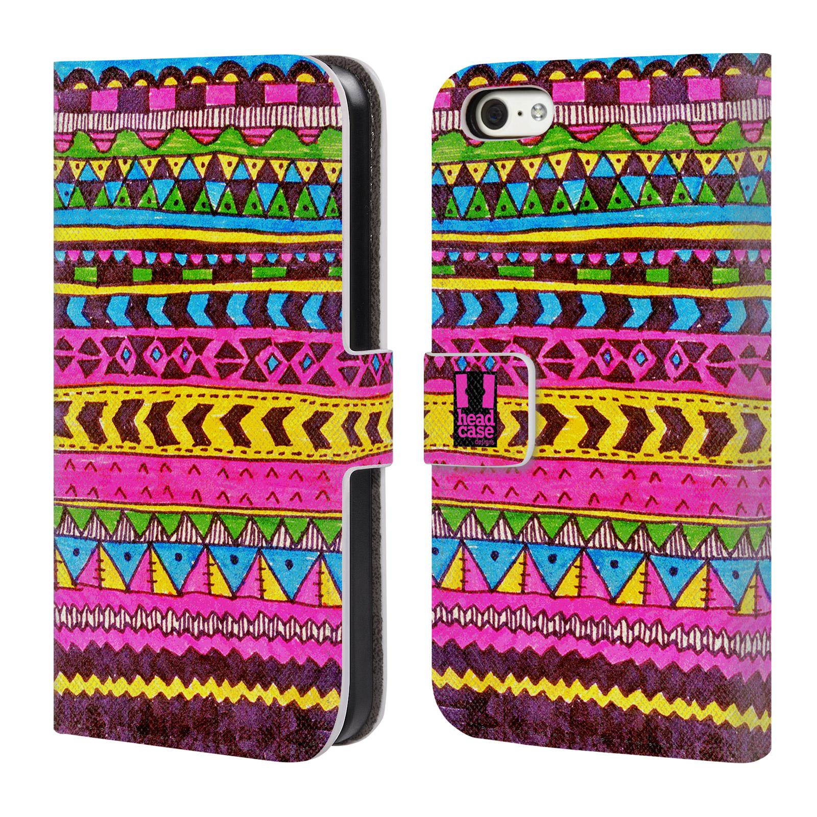 HEAD CASE Flipové pouzdro pro mobil Apple Iphone 5C Barevná aztécká čmáranice růžová