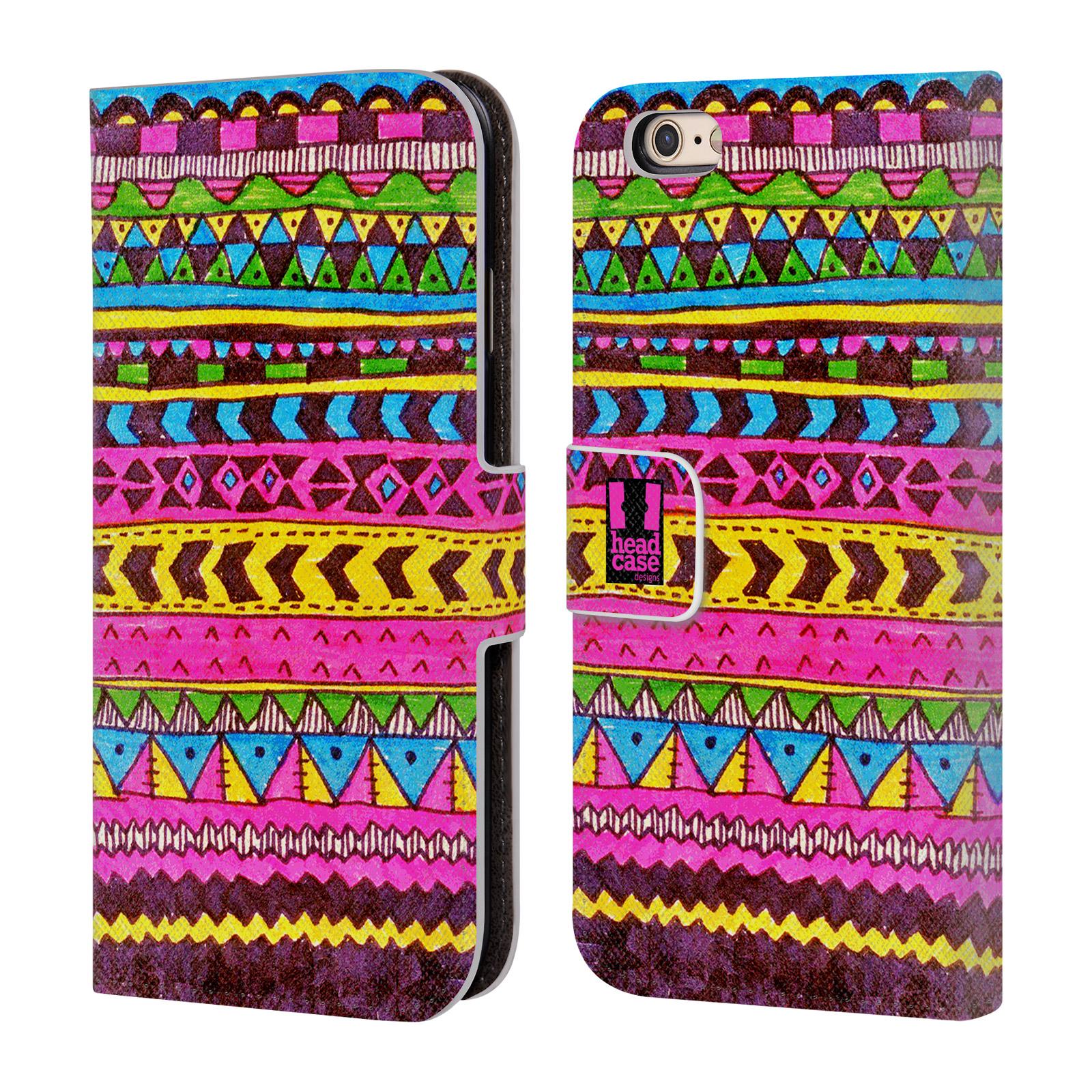 HEAD CASE Flipové pouzdro pro mobil Apple Iphone 6/6s Barevná aztécká čmáranice růžová