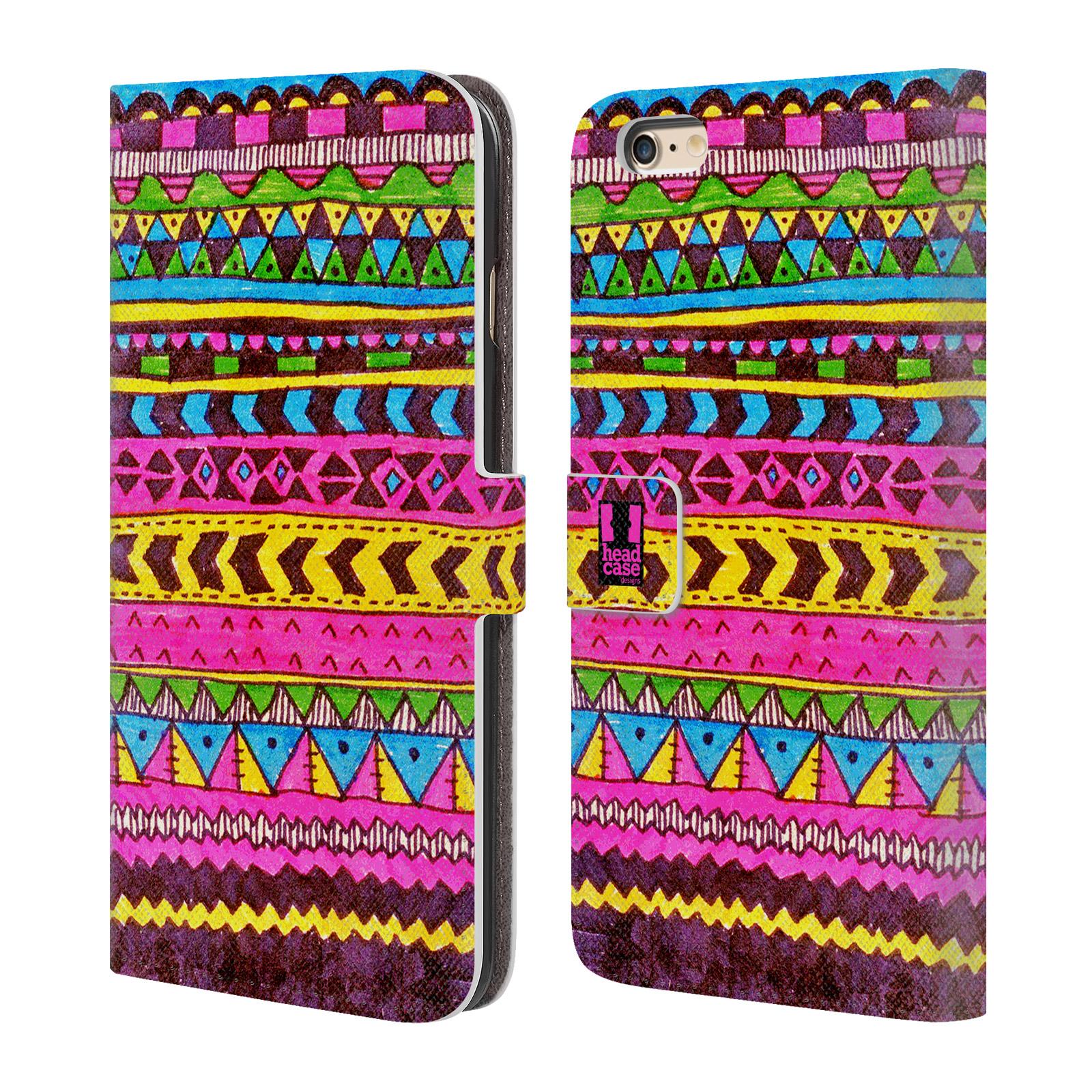 HEAD CASE Flipové pouzdro pro mobil Apple Iphone 6 PLUS / 6S PLUS Barevná aztécká čmáranice růžová