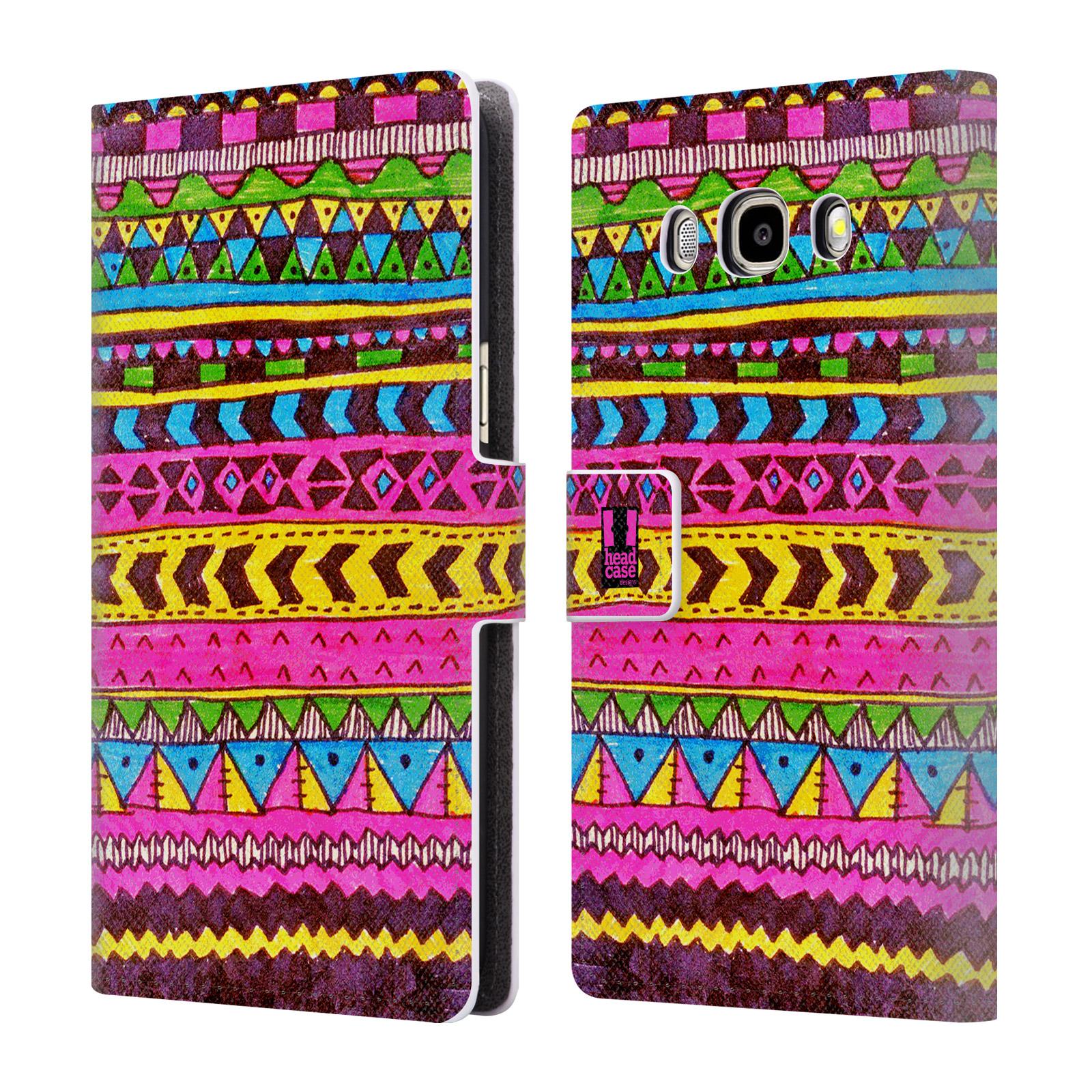 HEAD CASE Flipové pouzdro pro mobil Samsung Galaxy J5 2016 Barevná aztécká čmáranice růžová