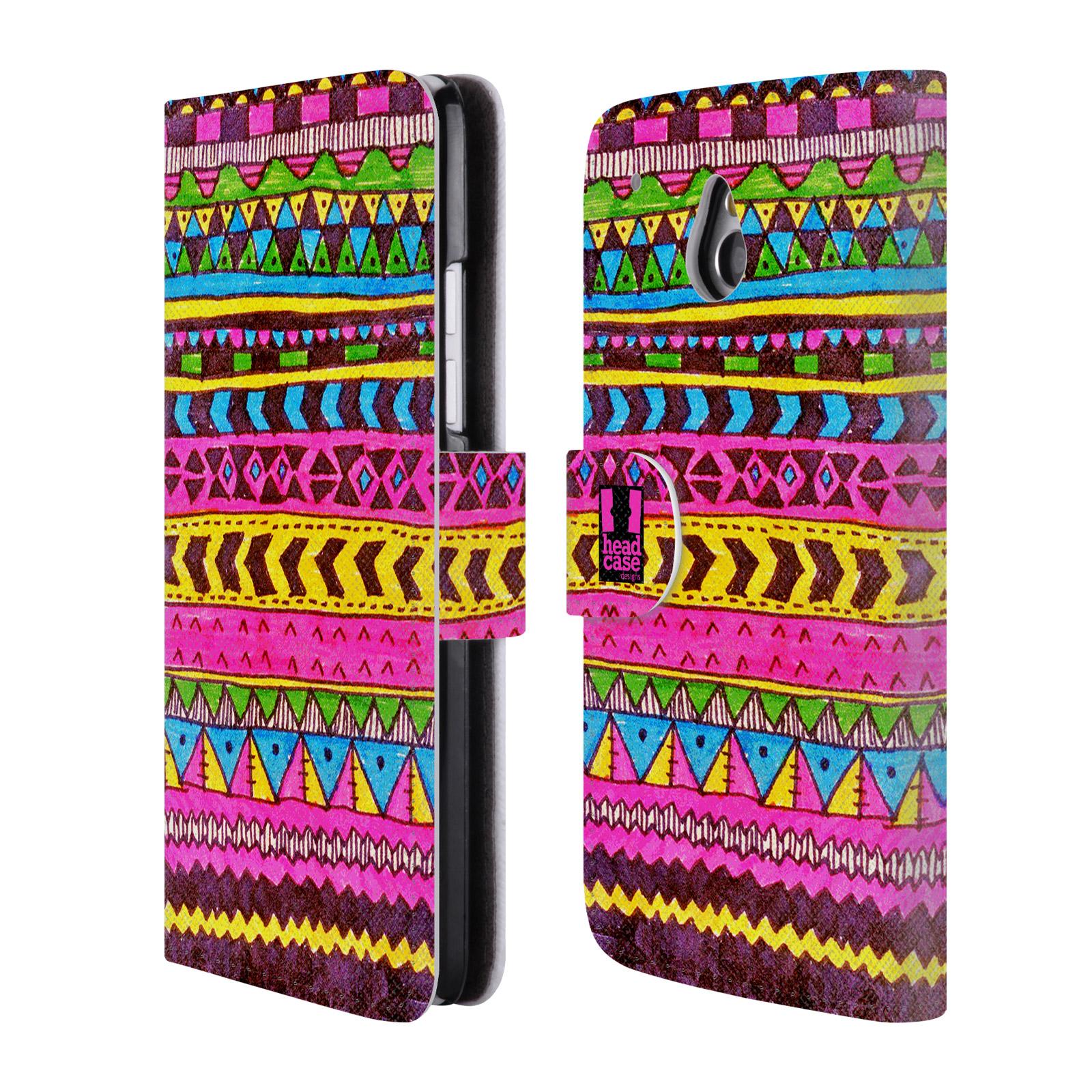 HEAD CASE Flipové pouzdro pro mobil HTC ONE MINI (M4) Barevná aztécká čmáranice růžová
