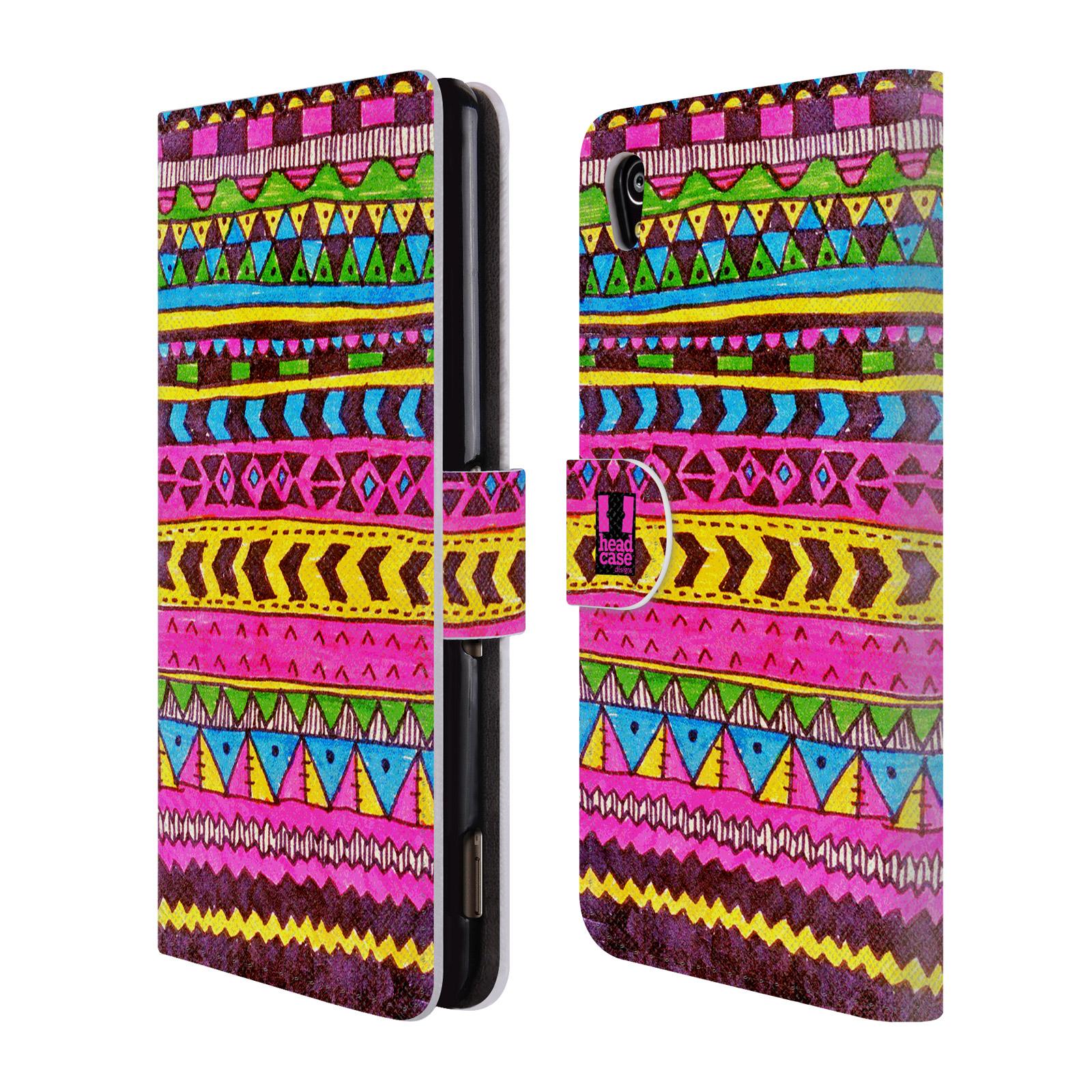 HEAD CASE Flipové pouzdro pro mobil SONY XPERIA M4 AQUA Barevná aztécká čmáranice růžová
