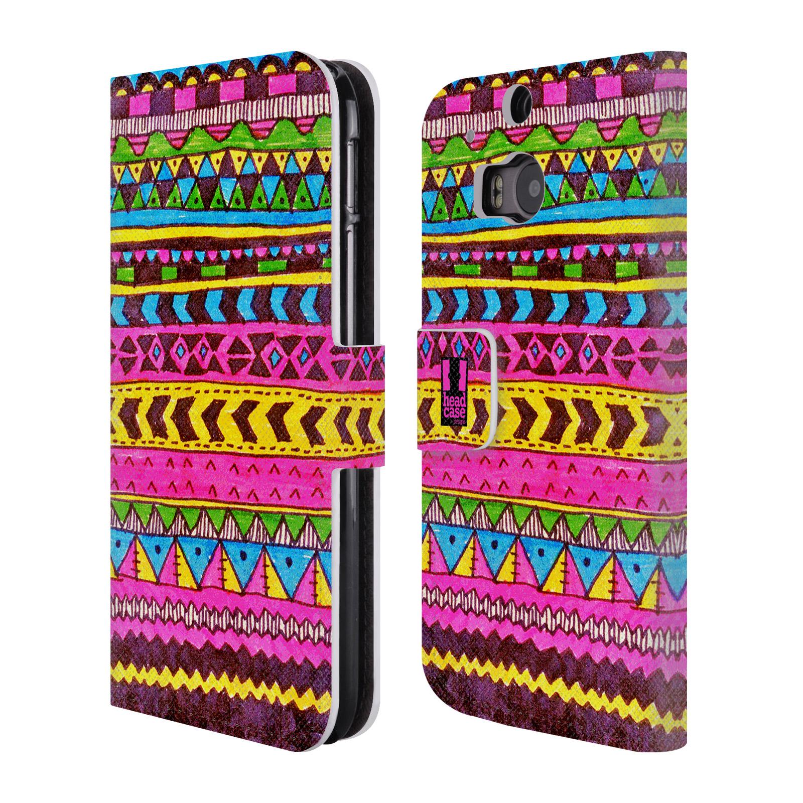 HEAD CASE Flipové pouzdro pro mobil HTC ONE (M8, M8s) Barevná aztécká čmáranice růžová