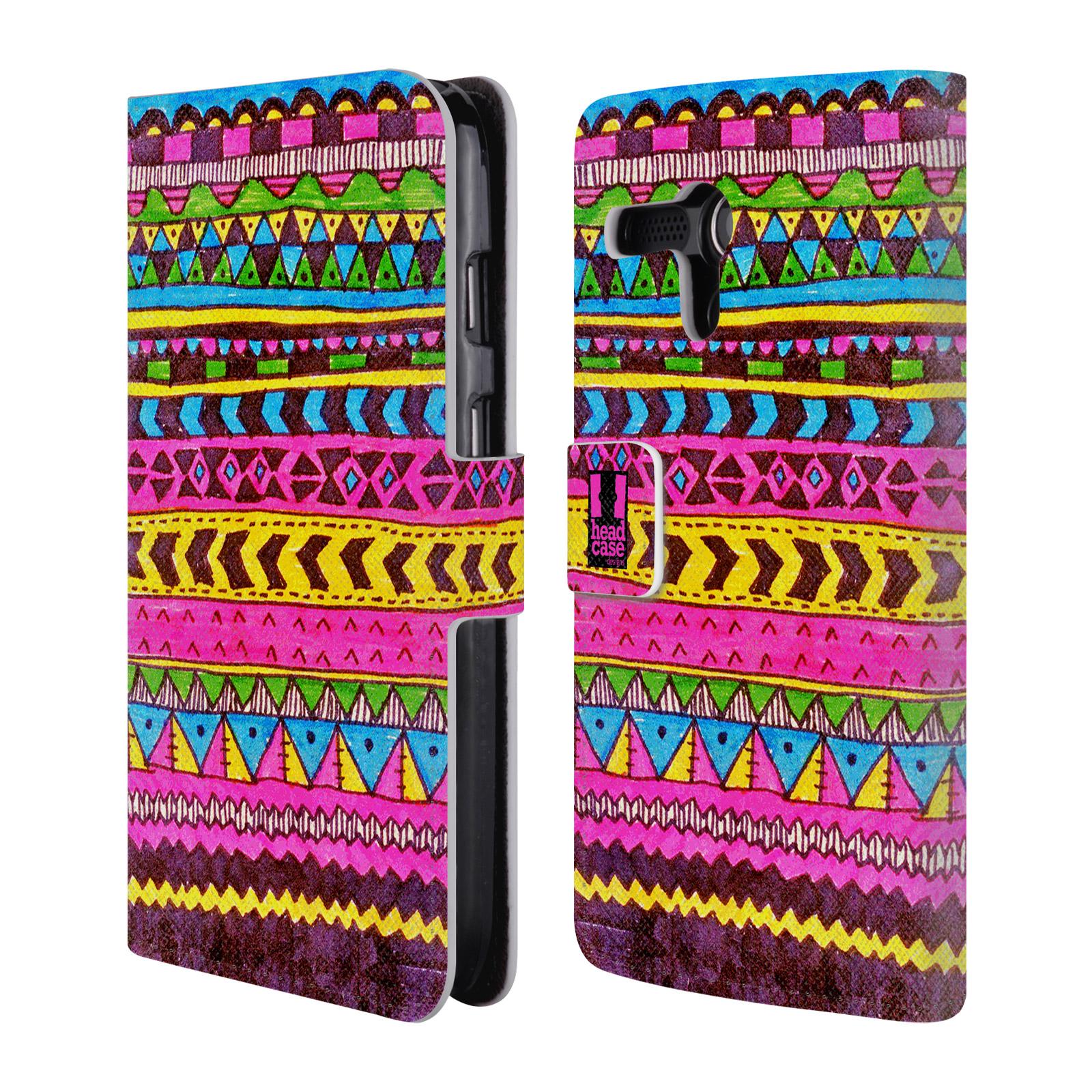 HEAD CASE Flipové pouzdro pro mobil MOTOROLA MOTO G Barevná aztécká čmáranice růžová