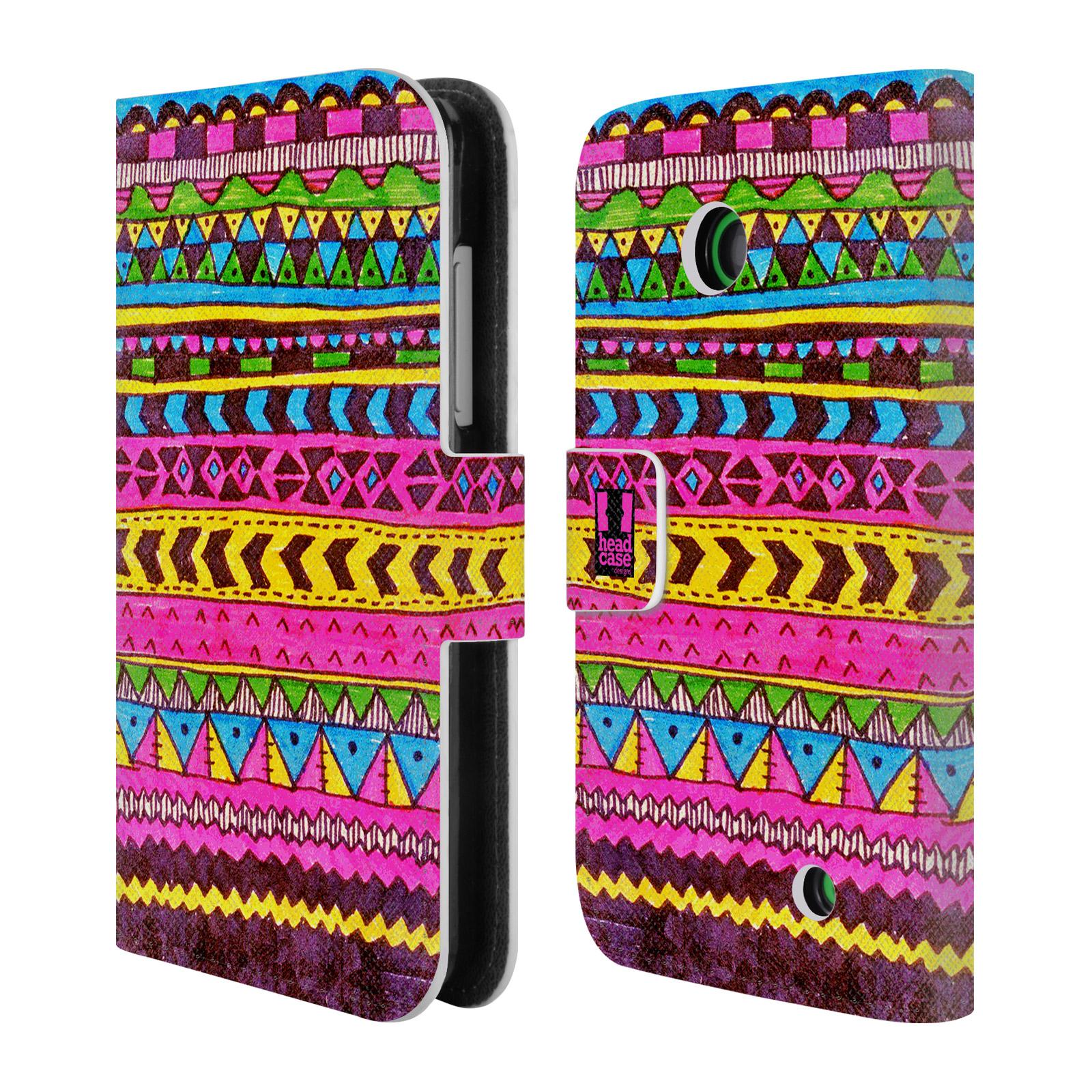 HEAD CASE Flipové pouzdro pro mobil NOKIA LUMIA 630 / LUMIA 630 DUAL Barevná aztécká čmáranice růžová