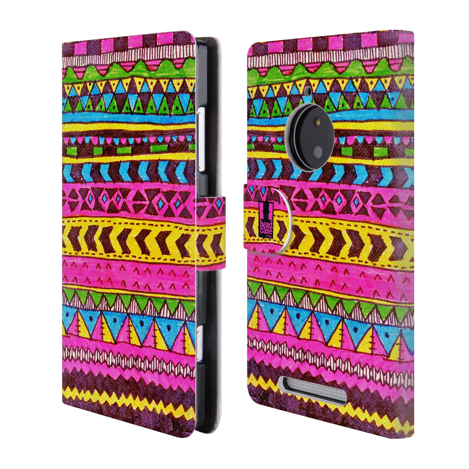 HEAD CASE Flipové pouzdro pro mobil NOKIA LUMIA 830 Barevná aztécká čmáranice růžová
