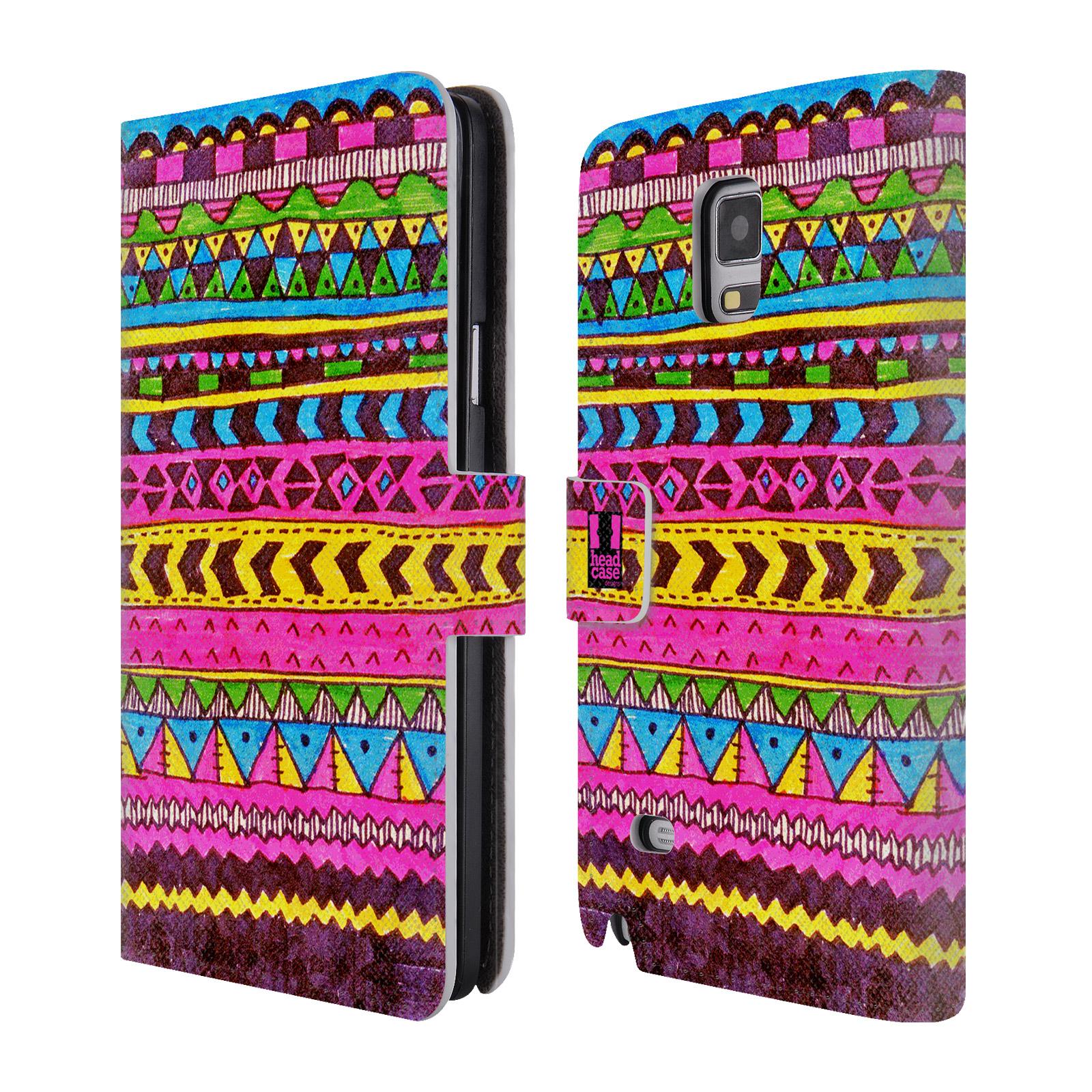 HEAD CASE Flipové pouzdro pro mobil Samsung Galaxy Note 4 Barevná aztécká čmáranice růžová