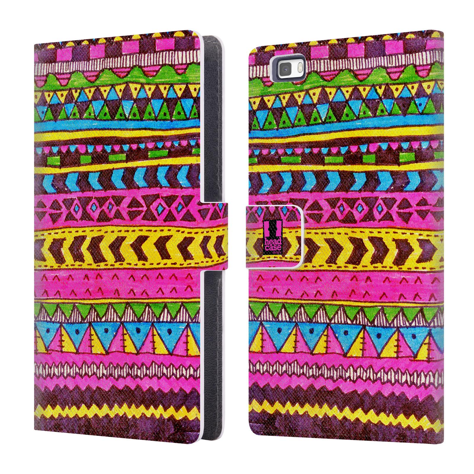 HEAD CASE Flipové pouzdro pro mobil Huawei P8 LITE Barevná aztécká čmáranice růžová