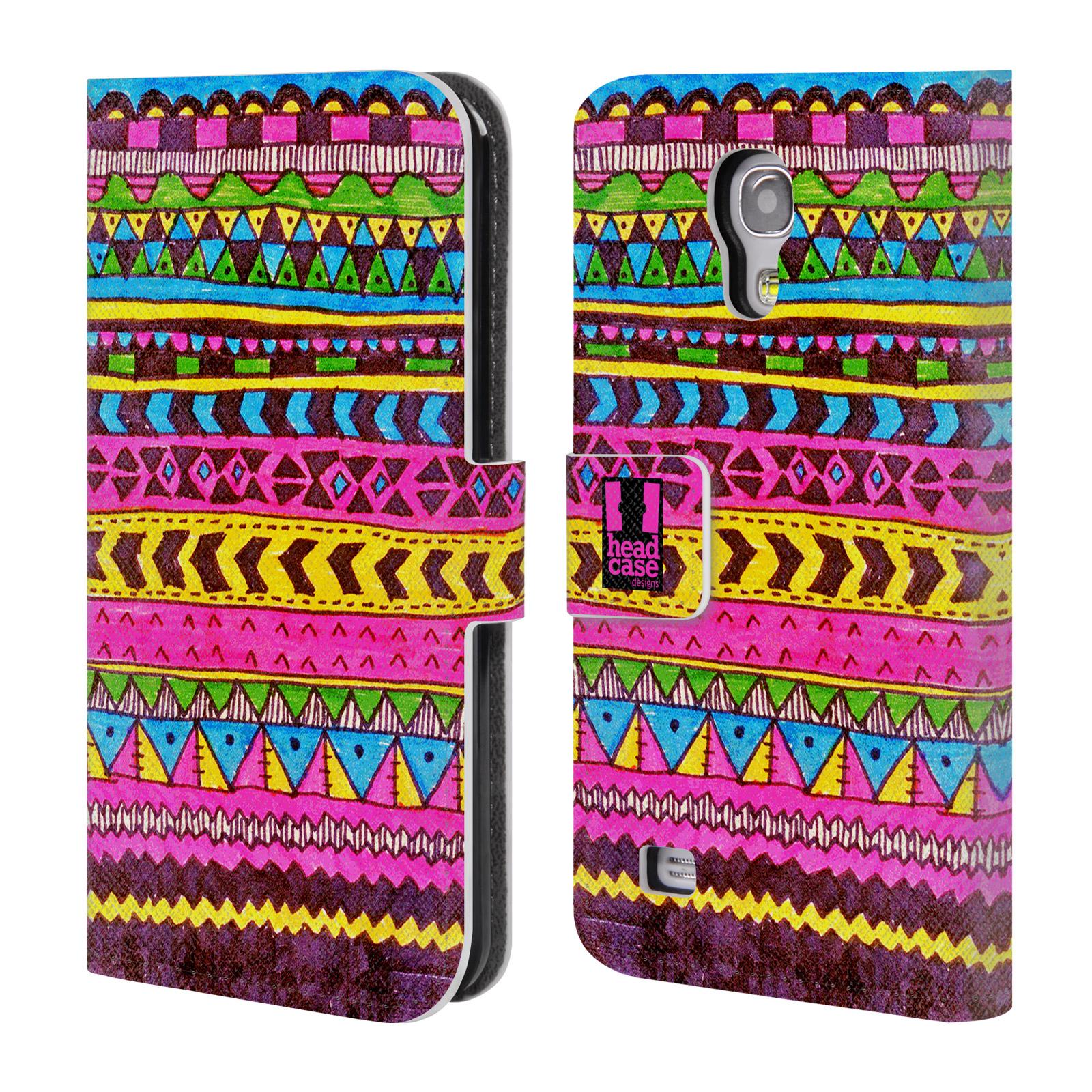 HEAD CASE Flipové pouzdro pro mobil Samsung Galaxy S4 MINI / S4 MINI DUOS Barevná aztécká čmáranice růžová