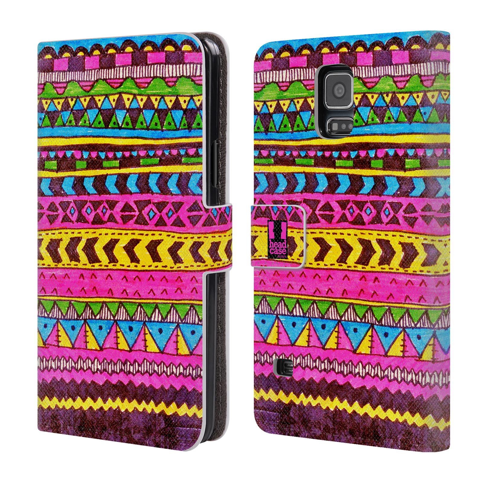 HEAD CASE Flipové pouzdro pro mobil Samsung Galaxy S5 / S5 NEO Barevná aztécká čmáranice růžová