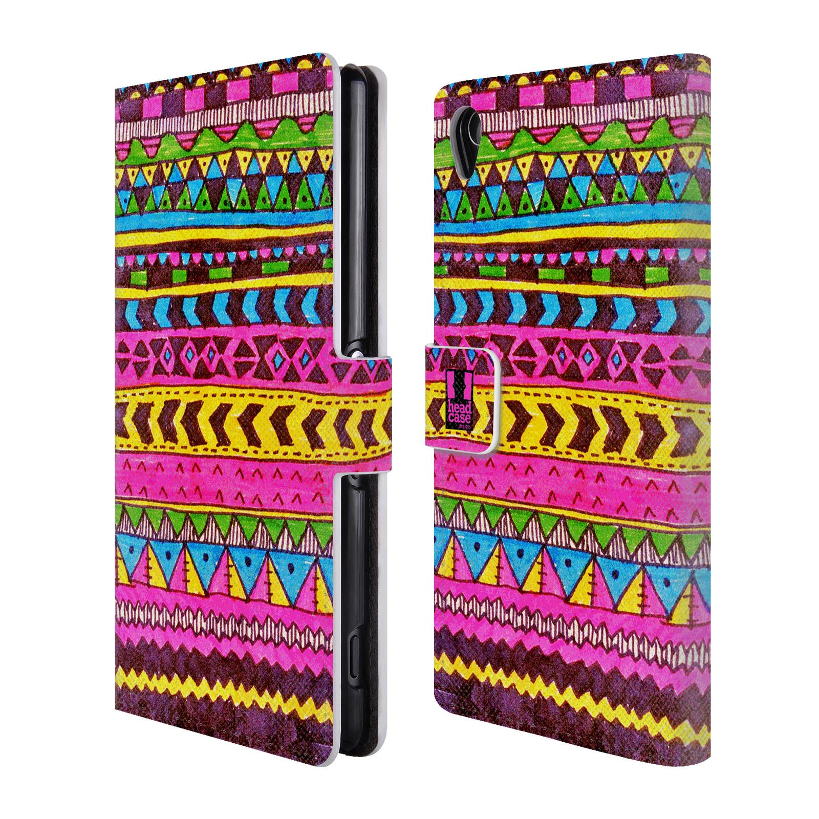 HEAD CASE Flipové pouzdro pro mobil SONY XPERIA Z3 Barevná aztécká čmáranice růžová