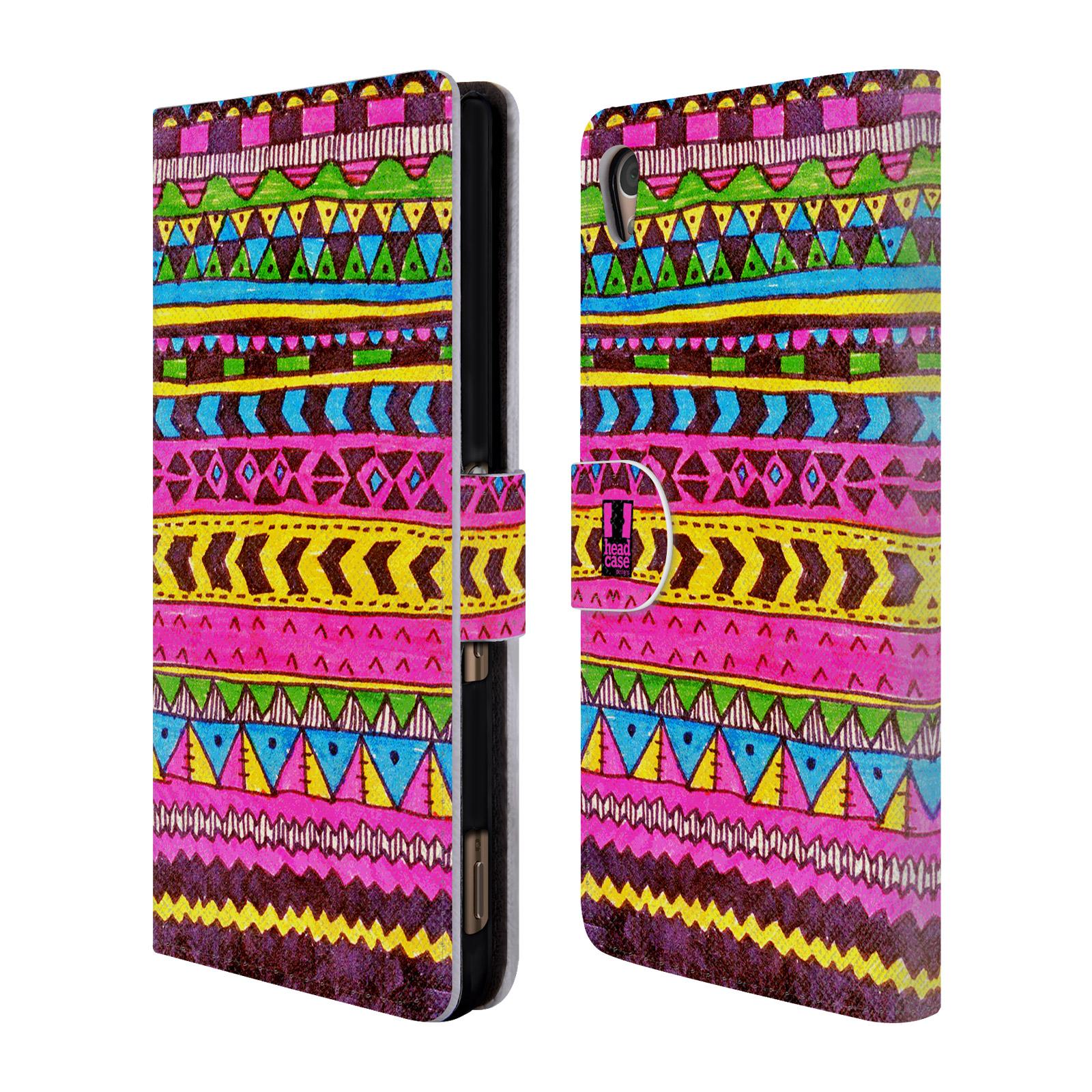 HEAD CASE Flipové pouzdro pro mobil SONY XPERIA Z3+ (PLUS) Barevná aztécká čmáranice růžová