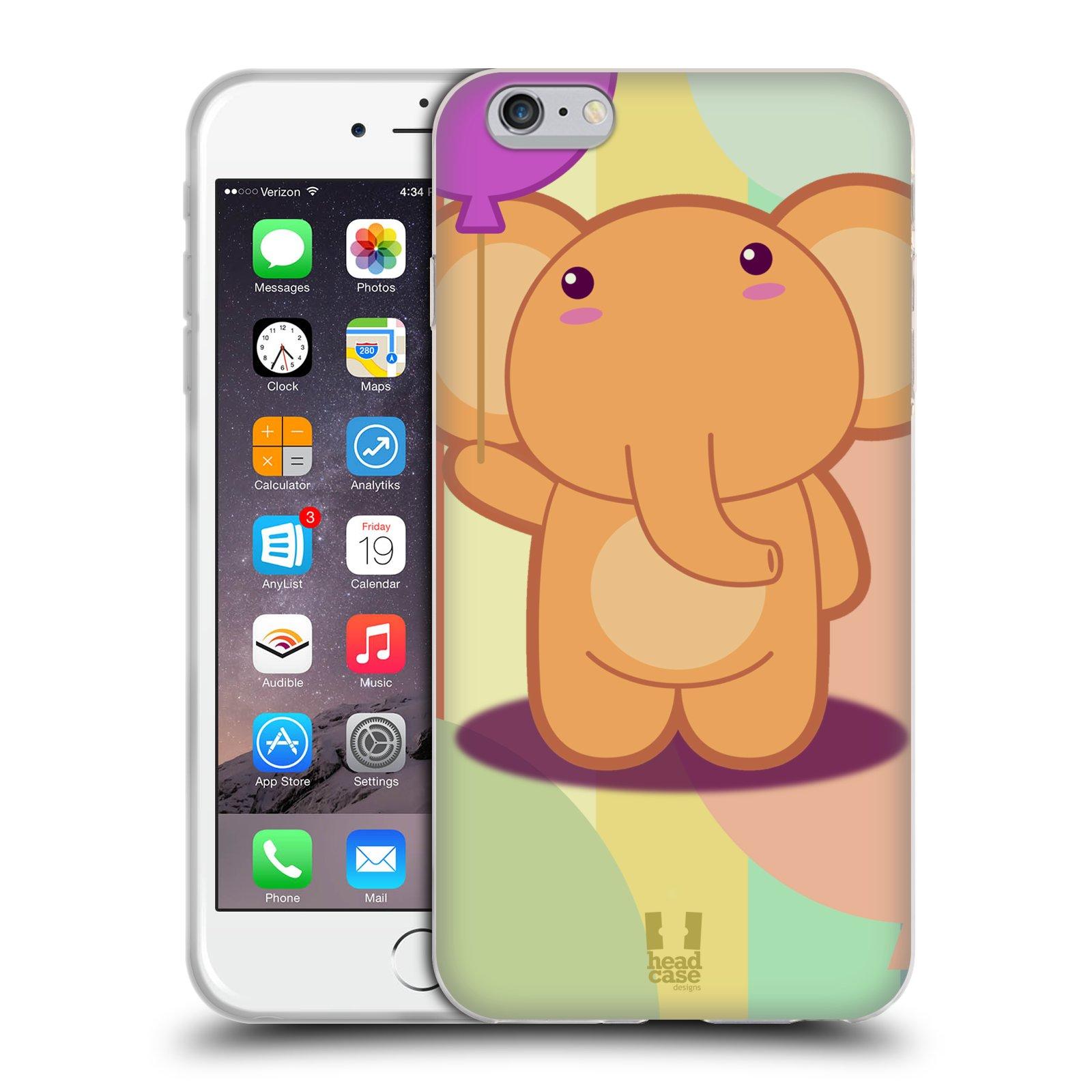 HEAD CASE silikonový obal na mobil Apple Iphone 6 PLUS/ 6S PLUS vzor malý sloník oranžový