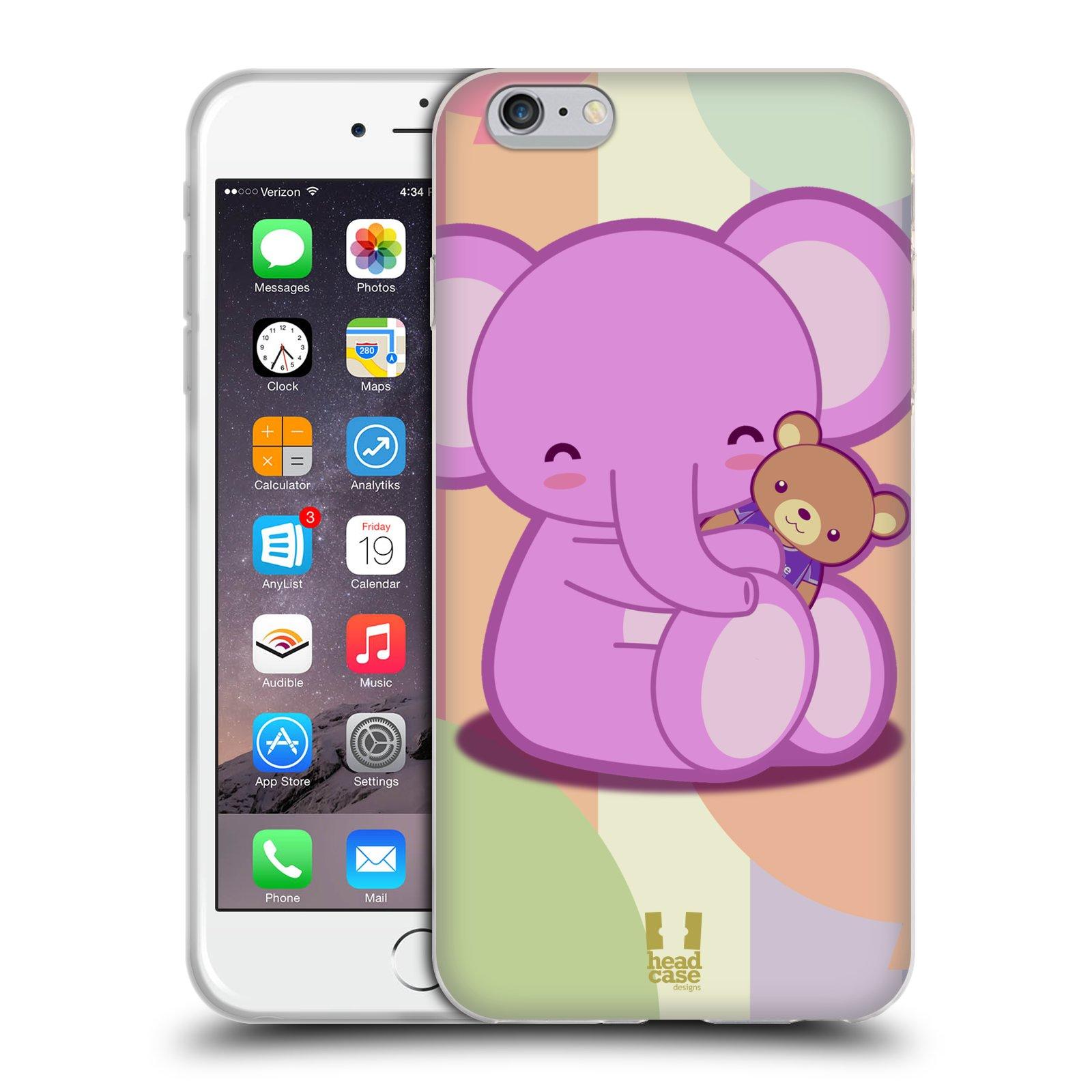 HEAD CASE silikonový obal na mobil Apple Iphone 6 PLUS/ 6S PLUS vzor malý sloník fialový