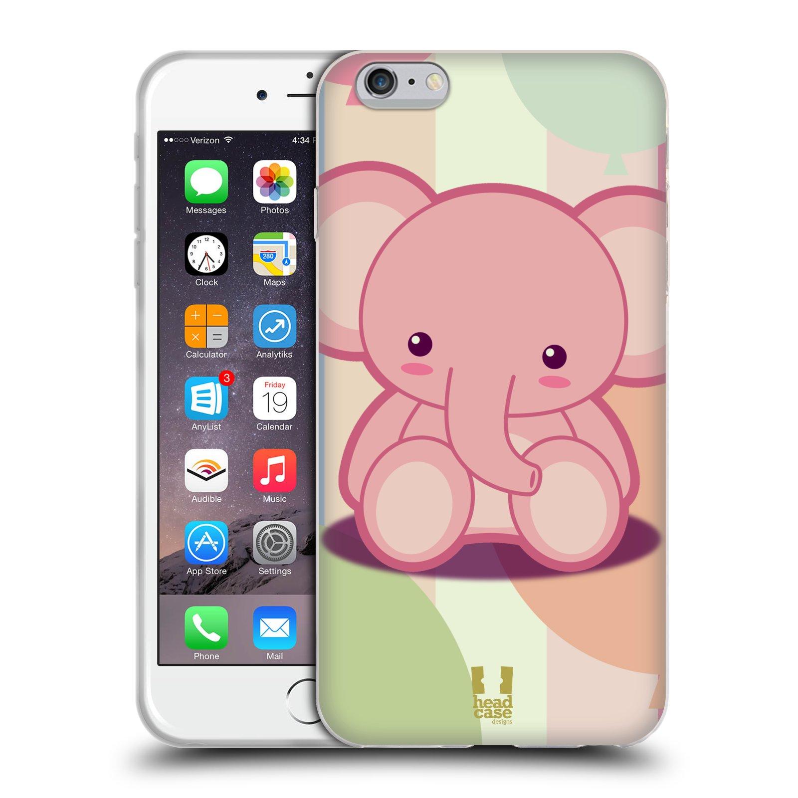 HEAD CASE silikonový obal na mobil Apple Iphone 6 PLUS/ 6S PLUS vzor malý sloník růžový