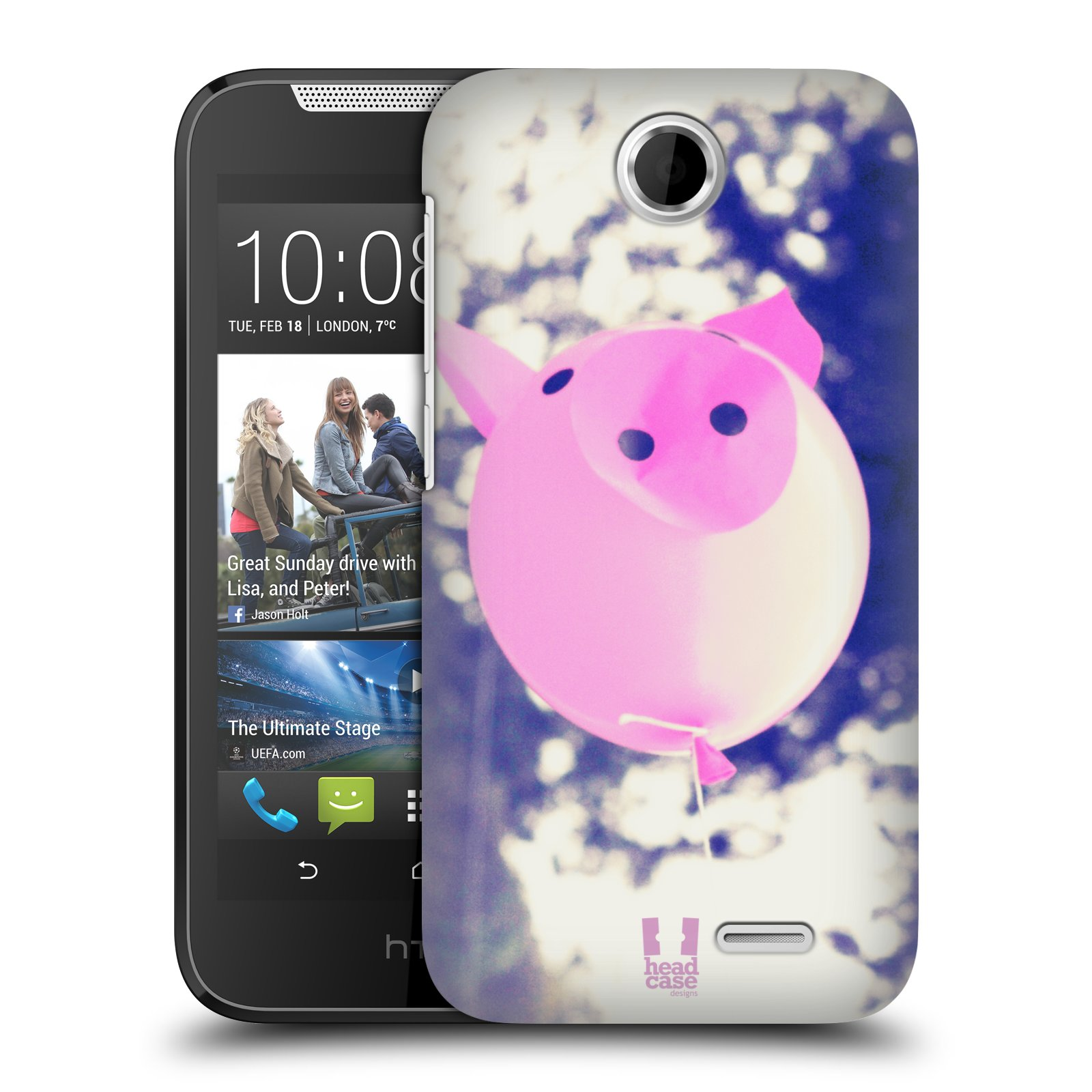 HEAD CASE plastový obal na mobil HTC Desire 310 vzor Balónková zvířátka foto prasátko