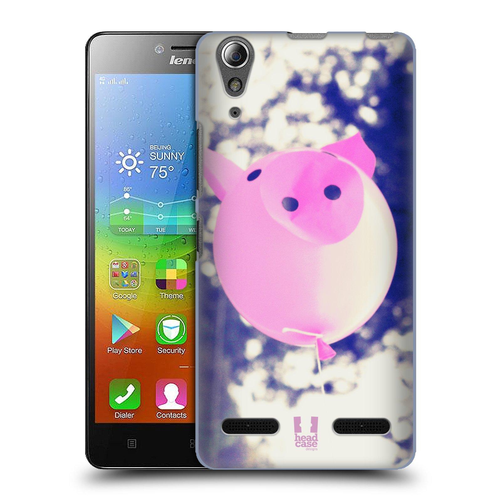 HEAD CASE pevný plastový obal na mobil LENOVO A6000 / A6000 PLUS vzor Balónková zvířátka foto prasátko
