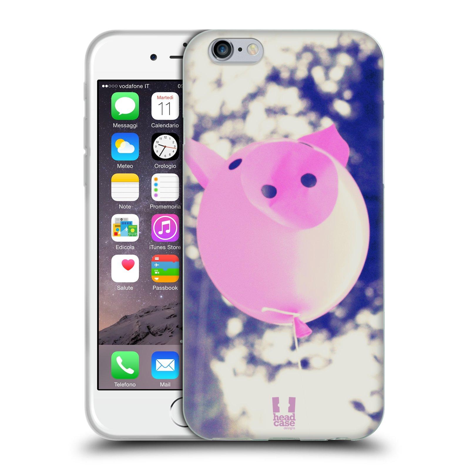 HEAD CASE silikonový obal na mobil Apple Iphone 6/6S vzor Balónková zvířátka foto prasátko