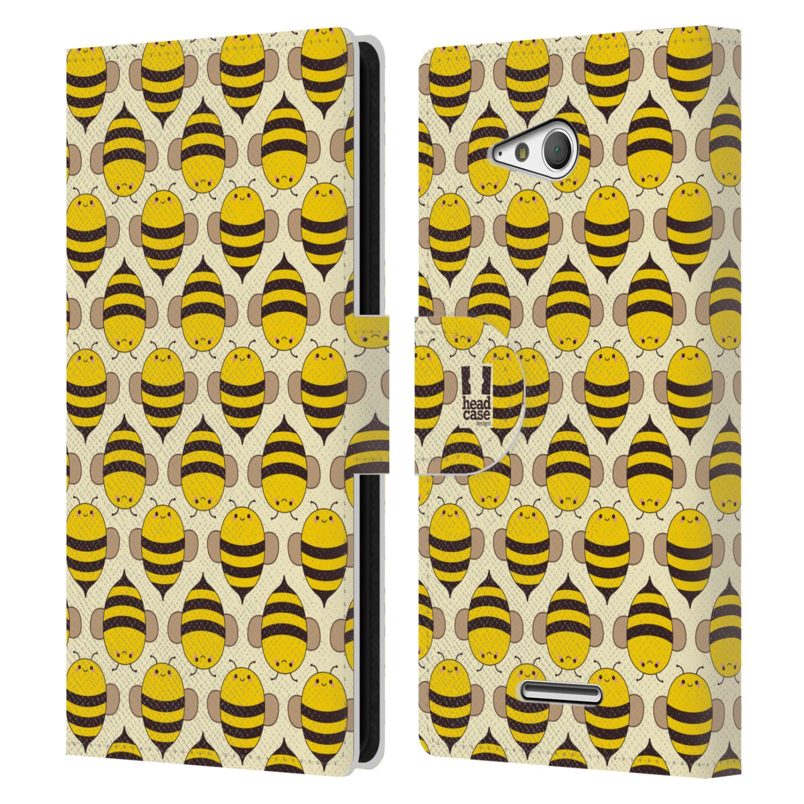 HEAD CASE Flipové pouzdro pro mobil SONY XPERIA E4g VČELÍ VZOR kolonie včelek