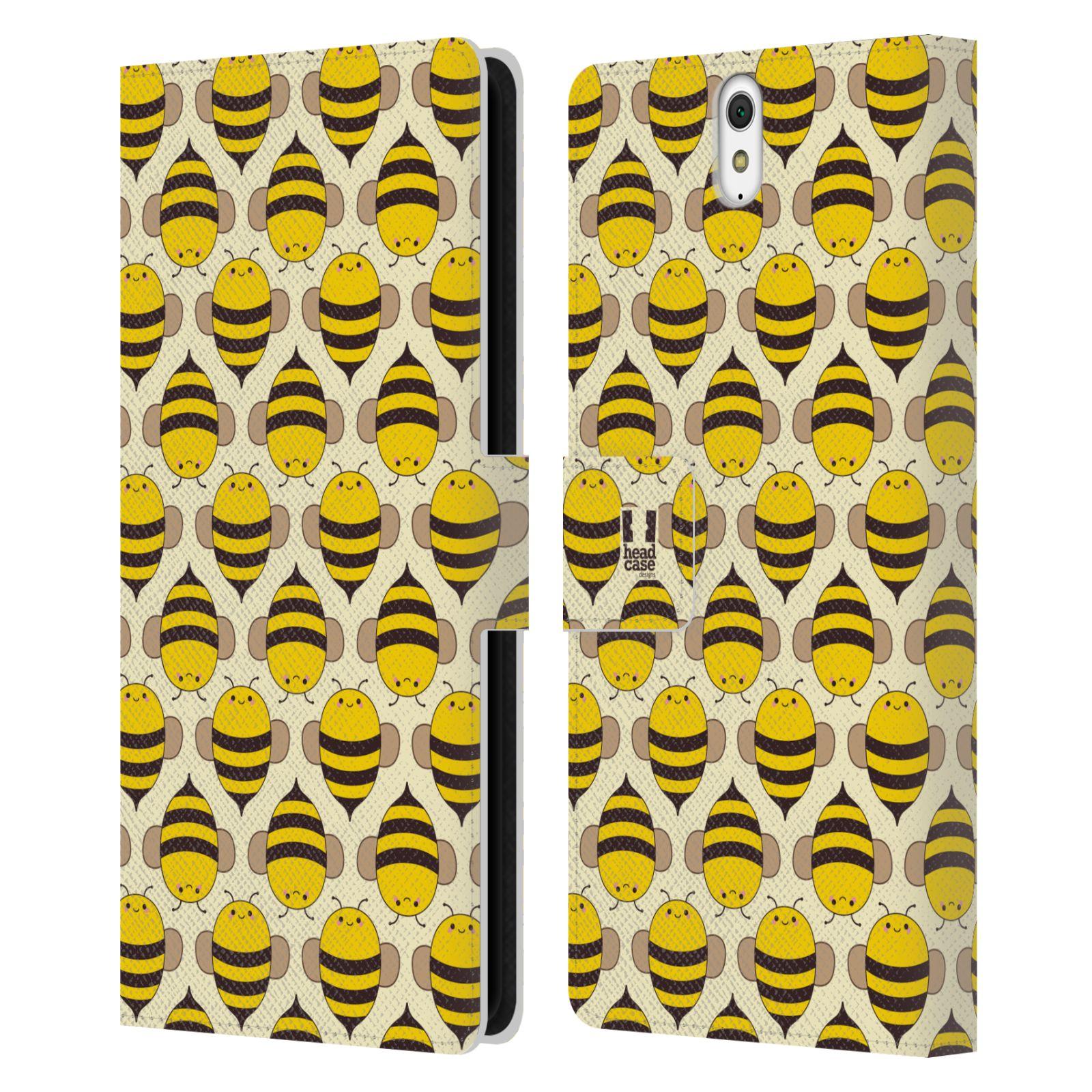 HEAD CASE Flipové pouzdro pro mobil SONY XPERIA C5 Ultra VČELÍ VZOR kolonie včelek