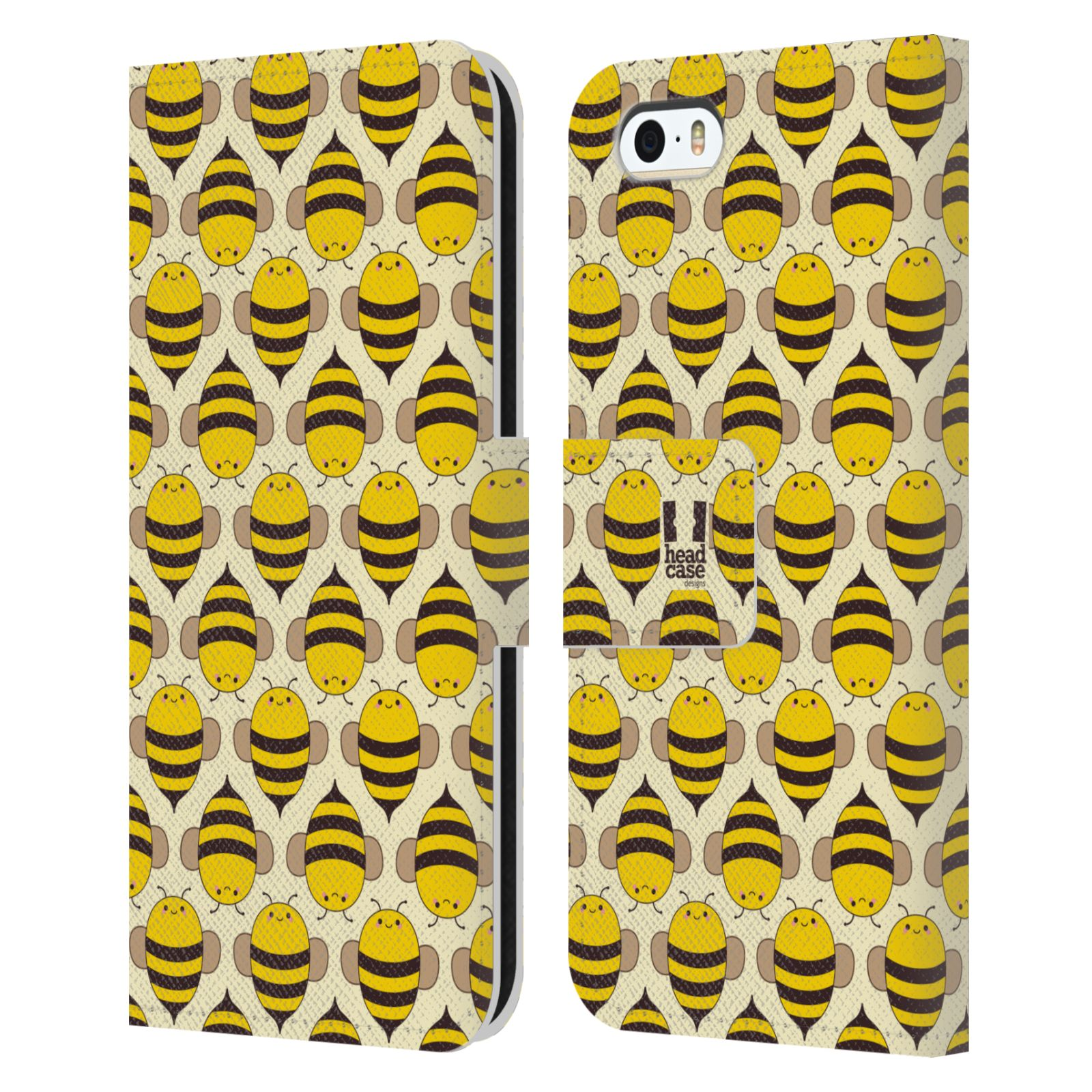 HEAD CASE Flipové pouzdro pro mobil Apple Iphone 5/5s VČELÍ VZOR kolonie včelek