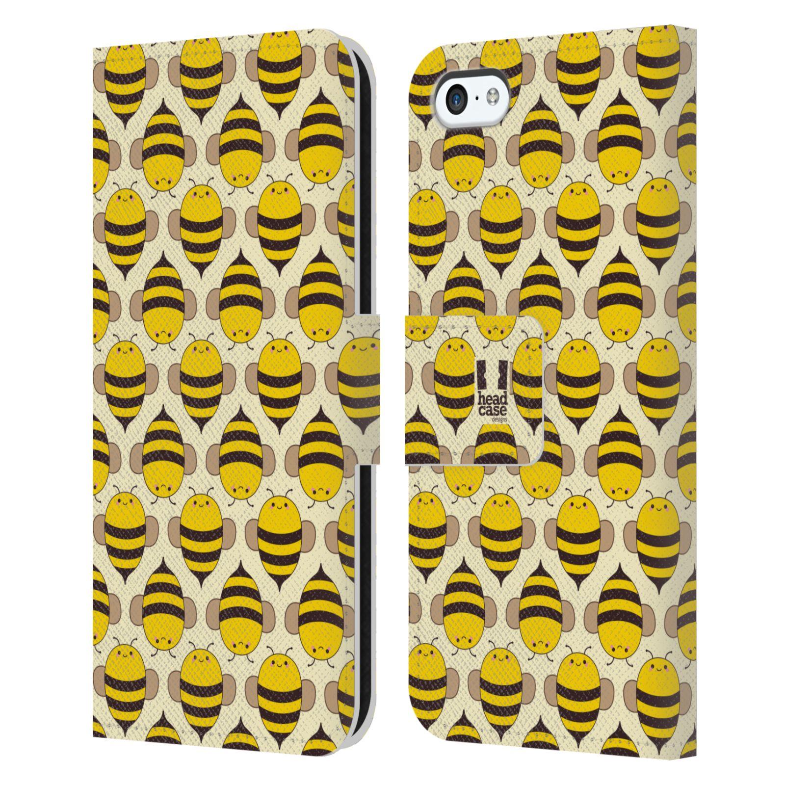 HEAD CASE Flipové pouzdro pro mobil Apple Iphone 5C VČELÍ VZOR kolonie včelek