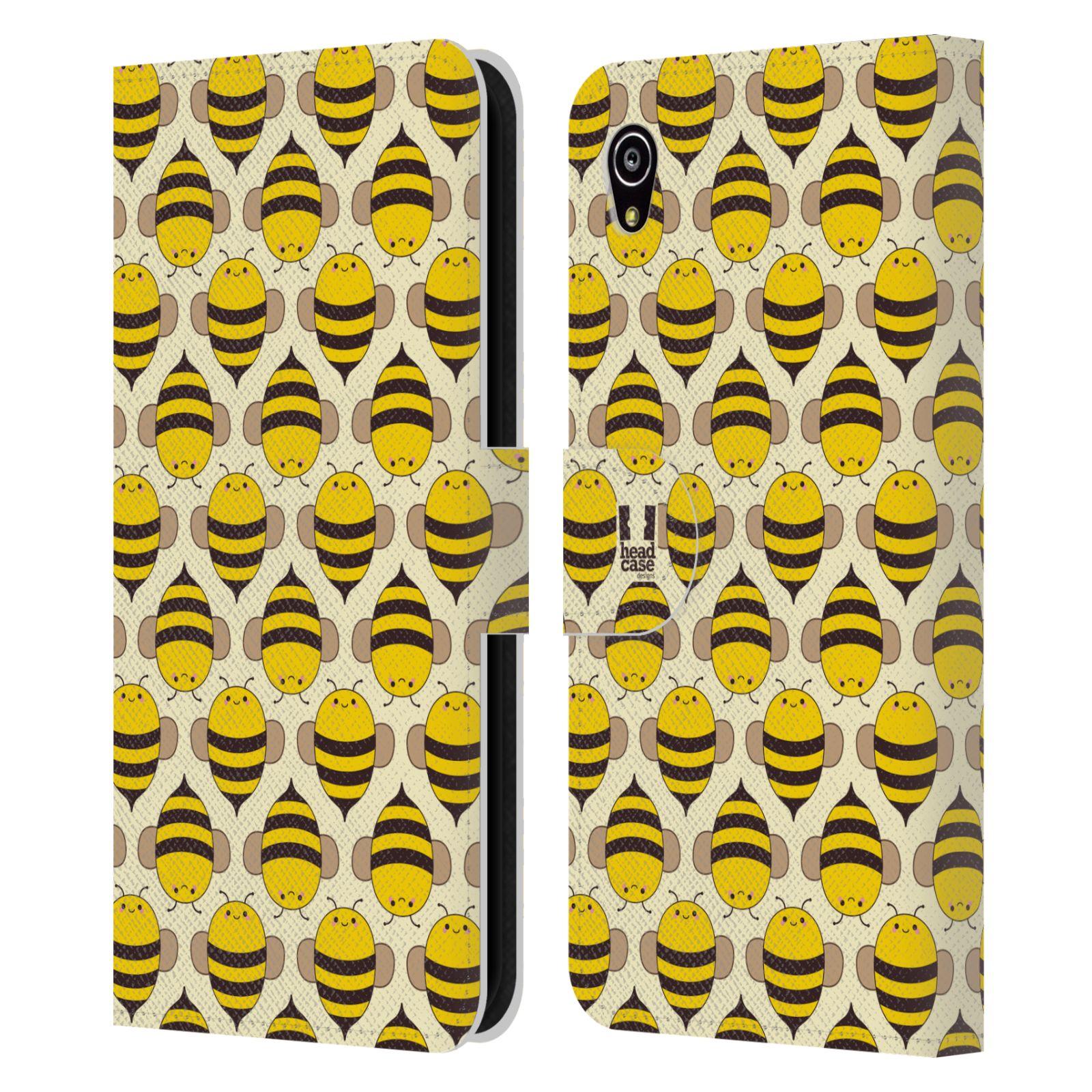 HEAD CASE Flipové pouzdro pro mobil SONY XPERIA M4 AQUA VČELÍ VZOR kolonie včelek