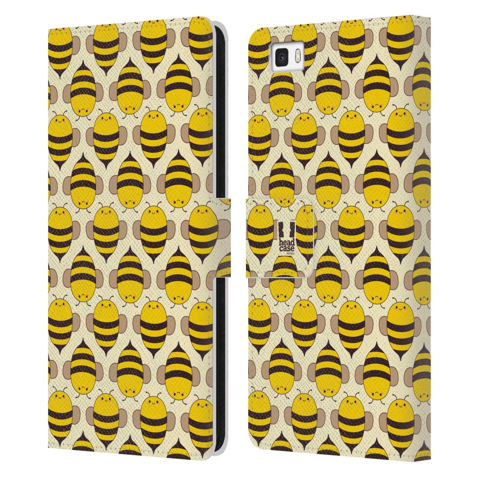 HEAD CASE Flipové pouzdro pro mobil Huawei P8 LITE VČELÍ VZOR kolonie včelek