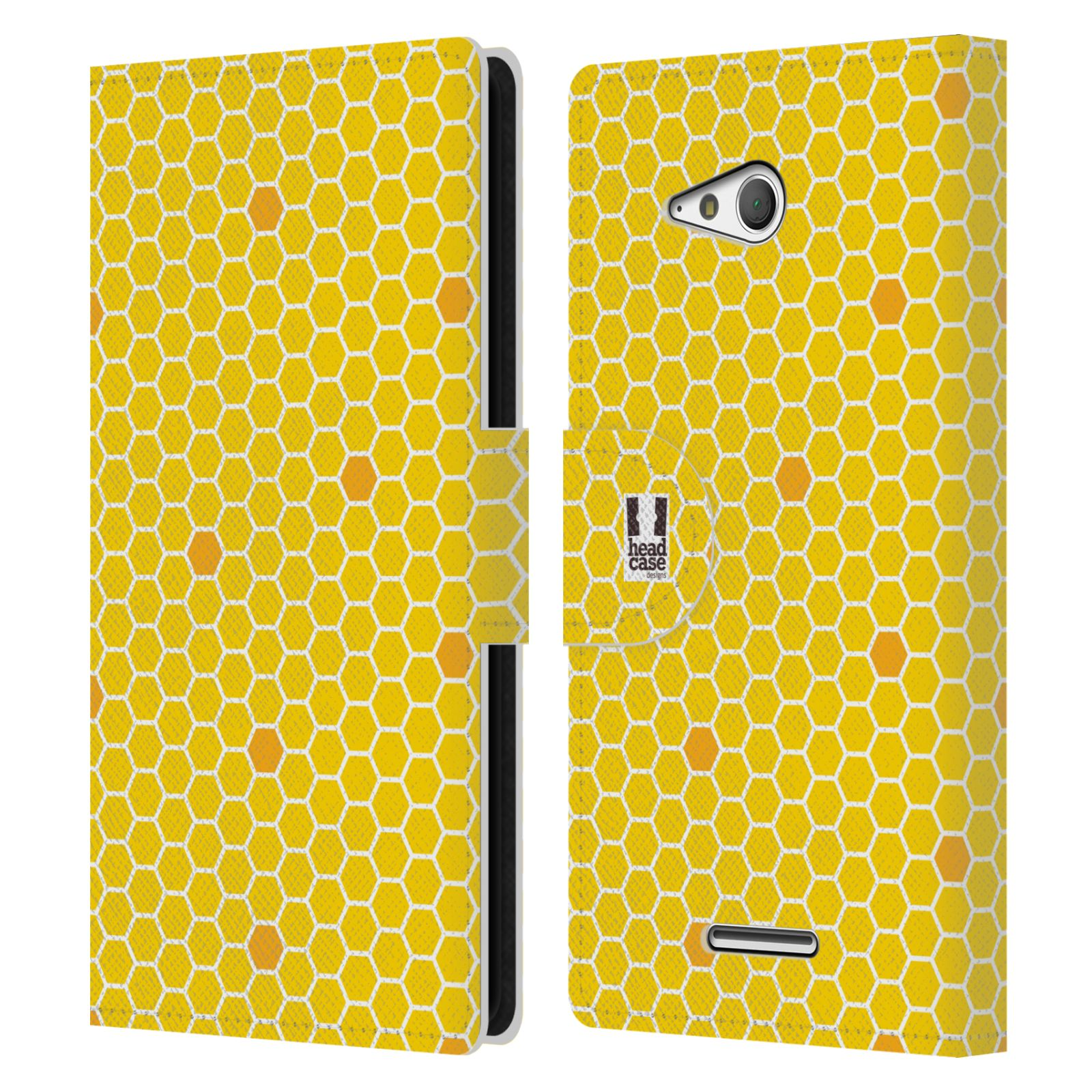 HEAD CASE Flipové pouzdro pro mobil SONY XPERIA E4g VČELÍ VZOR plástev žlutá