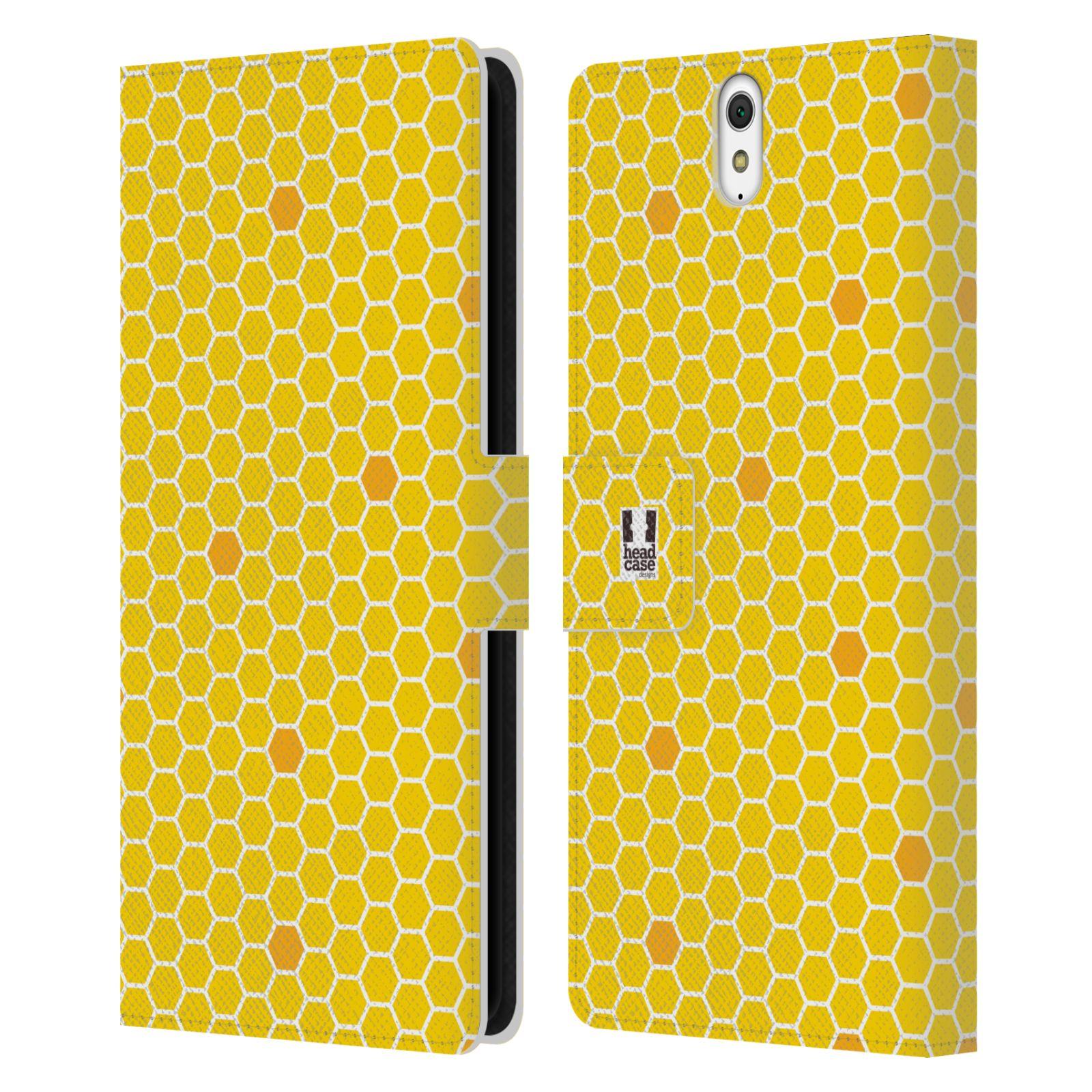 HEAD CASE Flipové pouzdro pro mobil SONY XPERIA C5 Ultra VČELÍ VZOR plástev žlutá