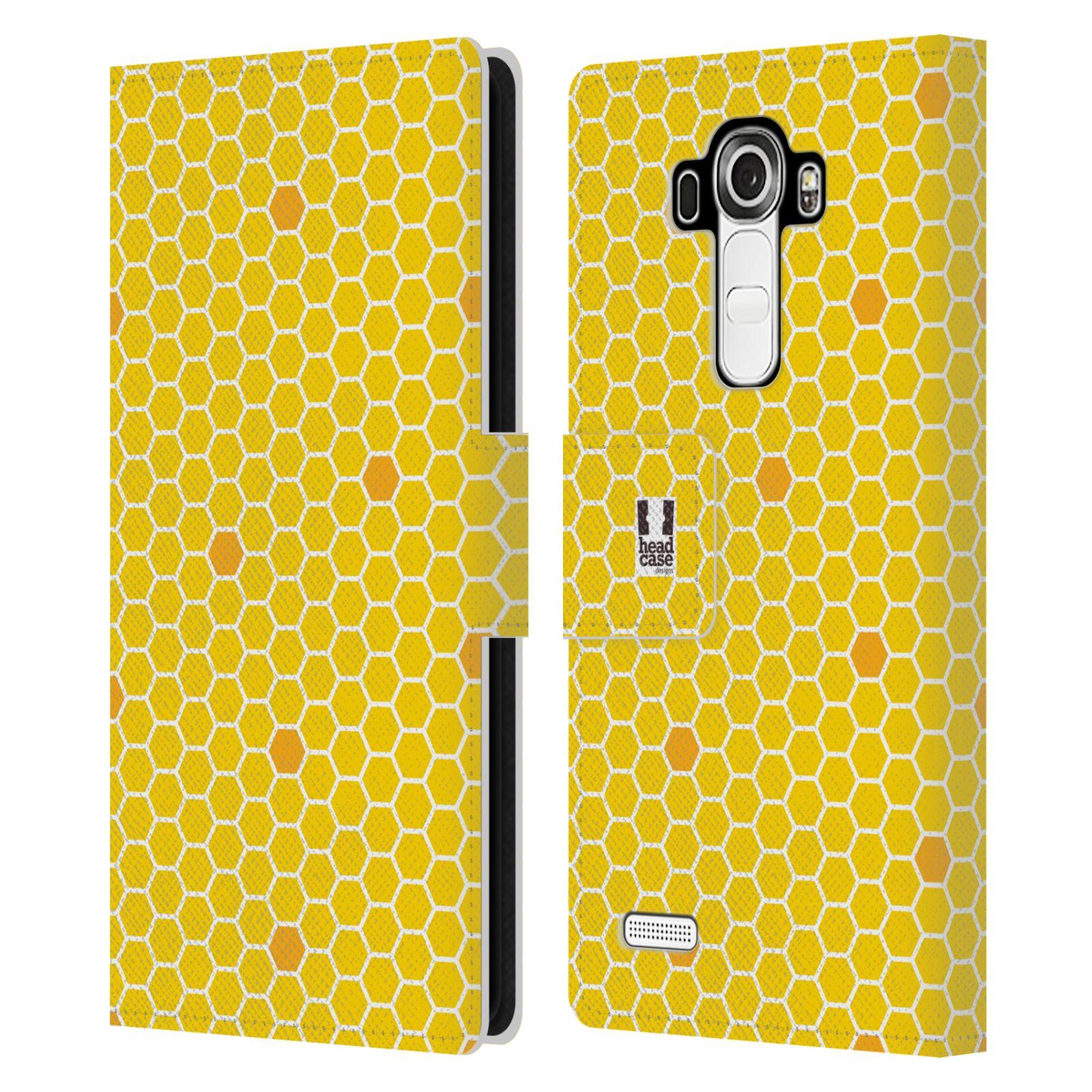 HEAD CASE Flipové pouzdro pro mobil LG G4 (H815) VČELÍ VZOR plástev žlutá