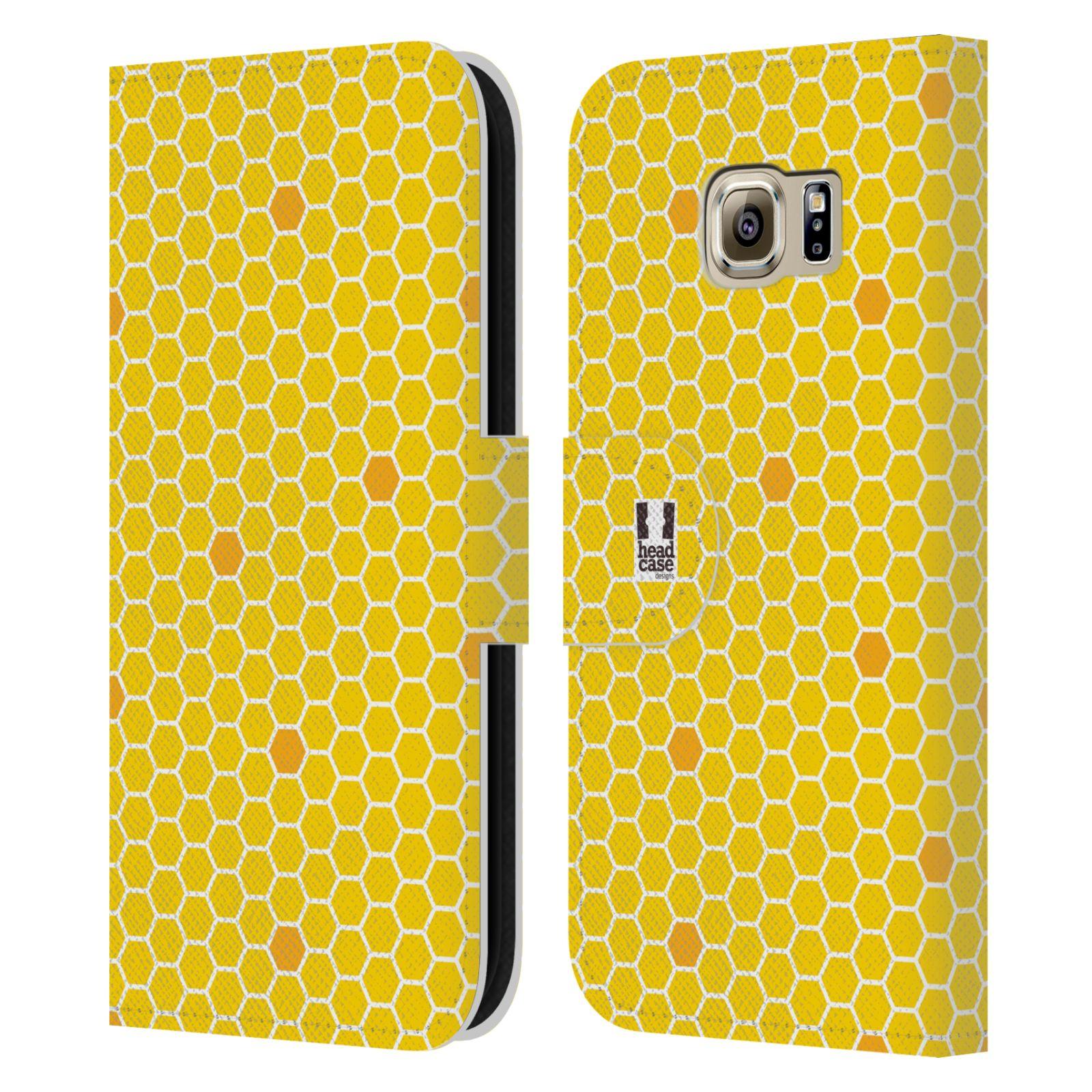 HEAD CASE Flipové pouzdro pro mobil Samsung Galaxy S6 (G9200) VČELÍ VZOR plástev žlutá