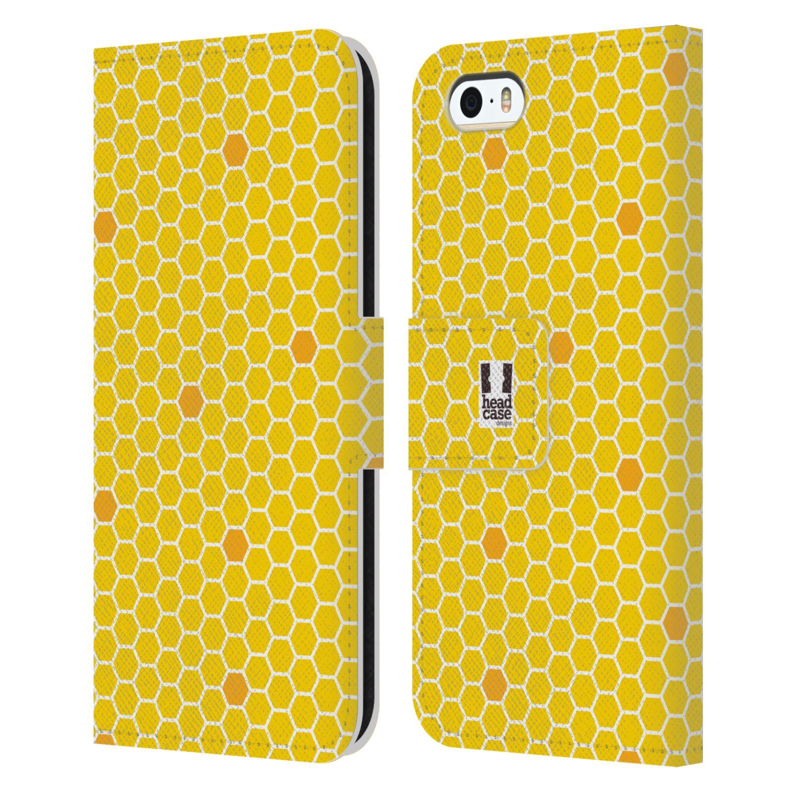 HEAD CASE Flipové pouzdro pro mobil Apple Iphone 5/5s VČELÍ VZOR plástev žlutá