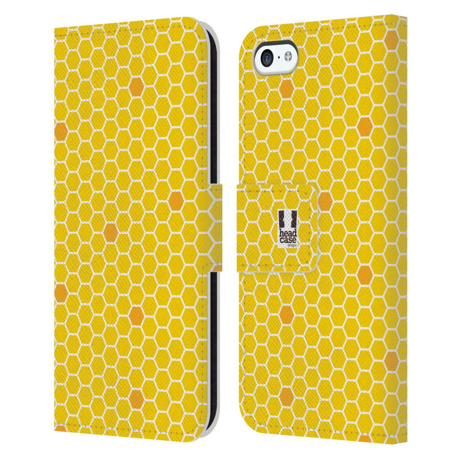 HEAD CASE Flipové pouzdro pro mobil Apple Iphone 5C VČELÍ VZOR plástev žlutá