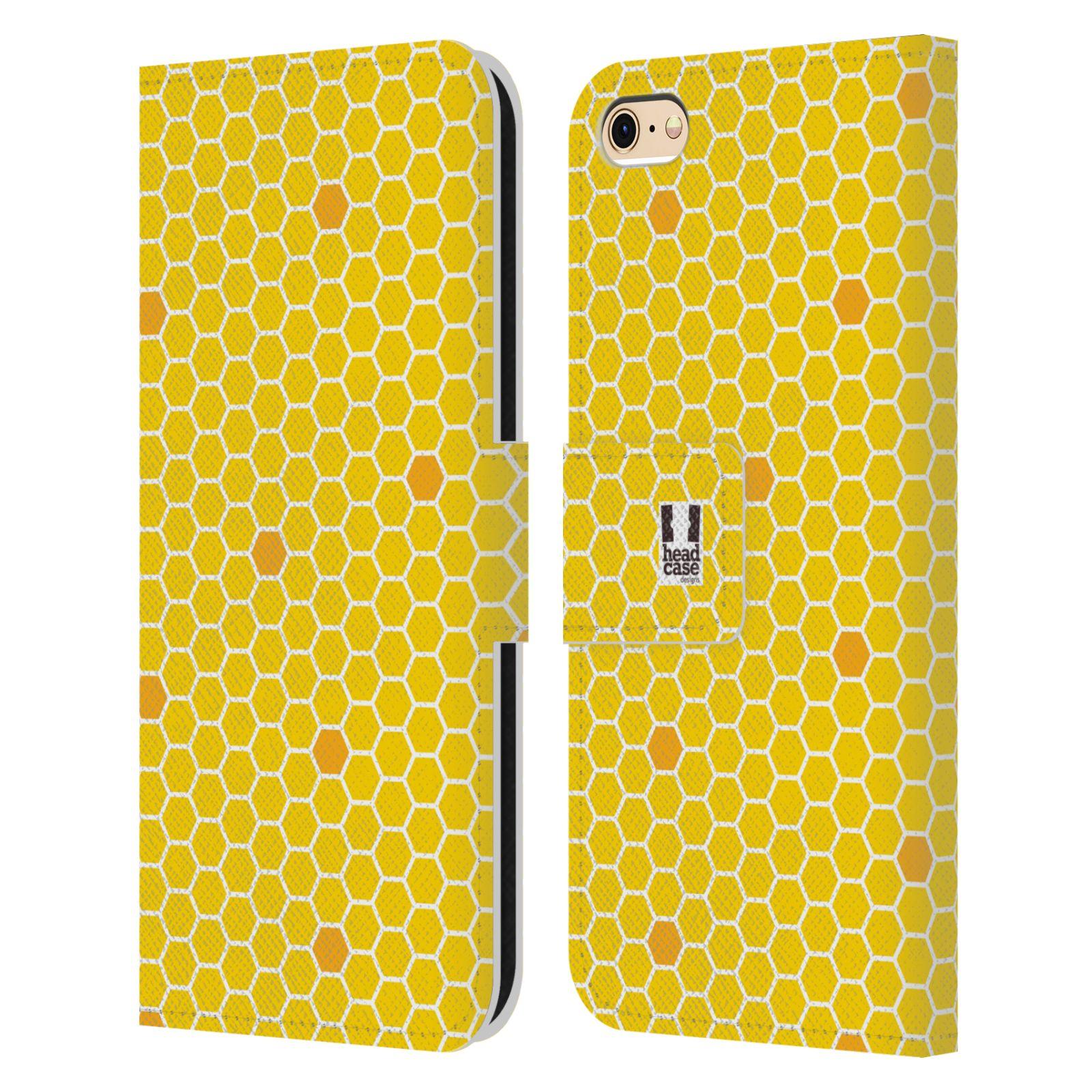 HEAD CASE Flipové pouzdro pro mobil Apple Iphone 6/6s VČELÍ VZOR plástev žlutá