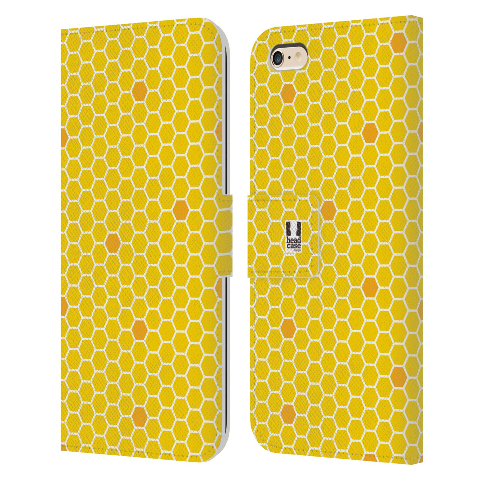 HEAD CASE Flipové pouzdro pro mobil Apple Iphone 6 PLUS / 6S PLUS VČELÍ VZOR plástev žlutá