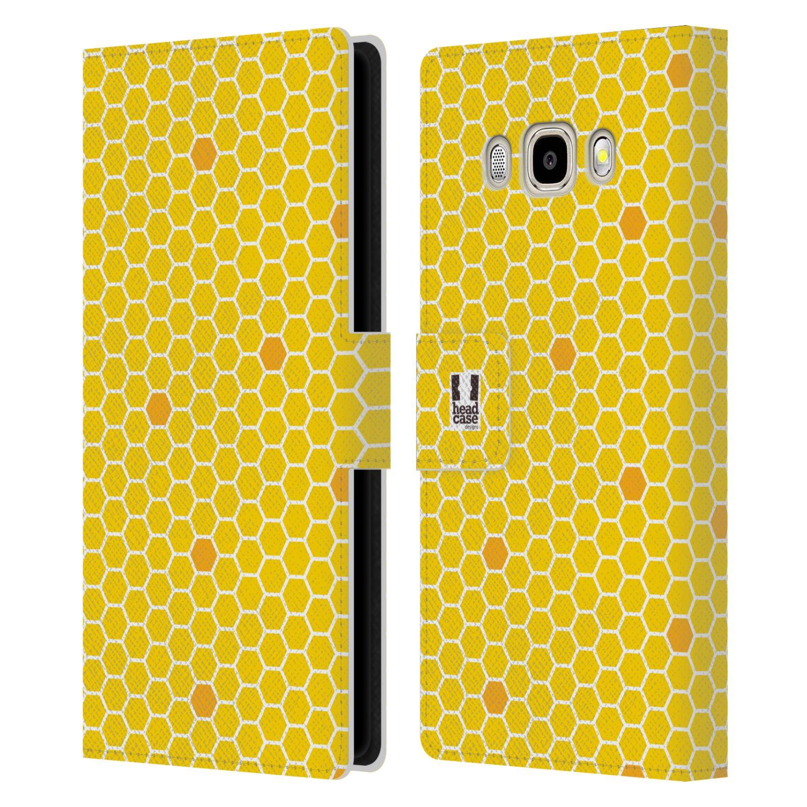 HEAD CASE Flipové pouzdro pro mobil Samsung Galaxy J5 2016 VČELÍ VZOR plástev žlutá