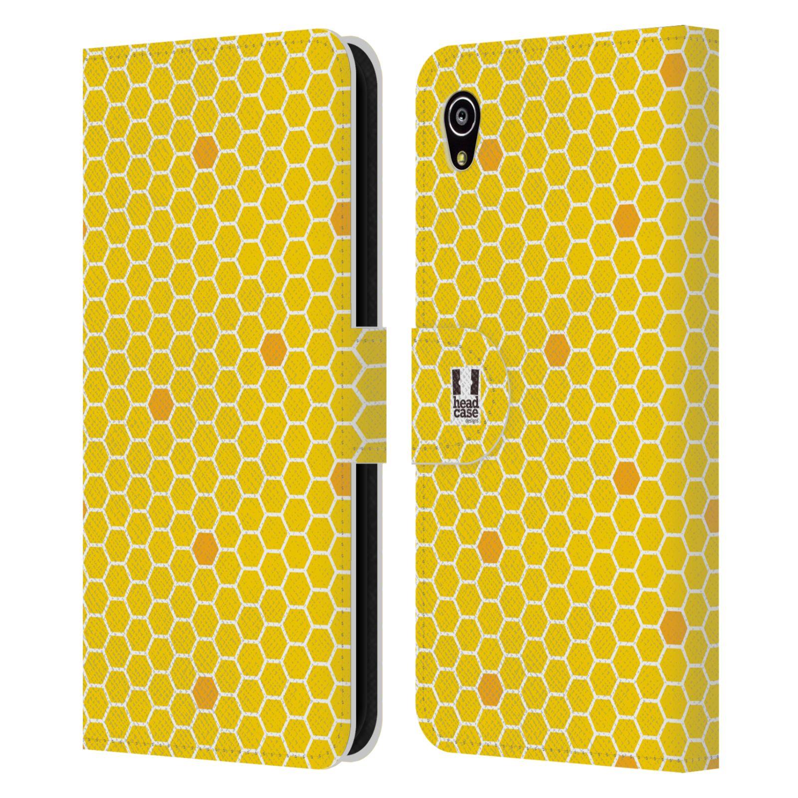 HEAD CASE Flipové pouzdro pro mobil SONY XPERIA M4 AQUA VČELÍ VZOR plástev žlutá